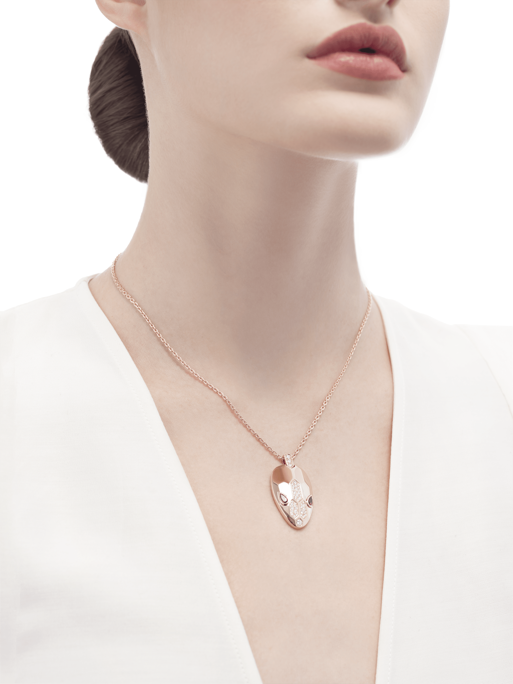 Serpenti necklace with 18 kt rose gold chain and pendant, set with rubellite eyes and demi pavé diamonds. 352723 image 4