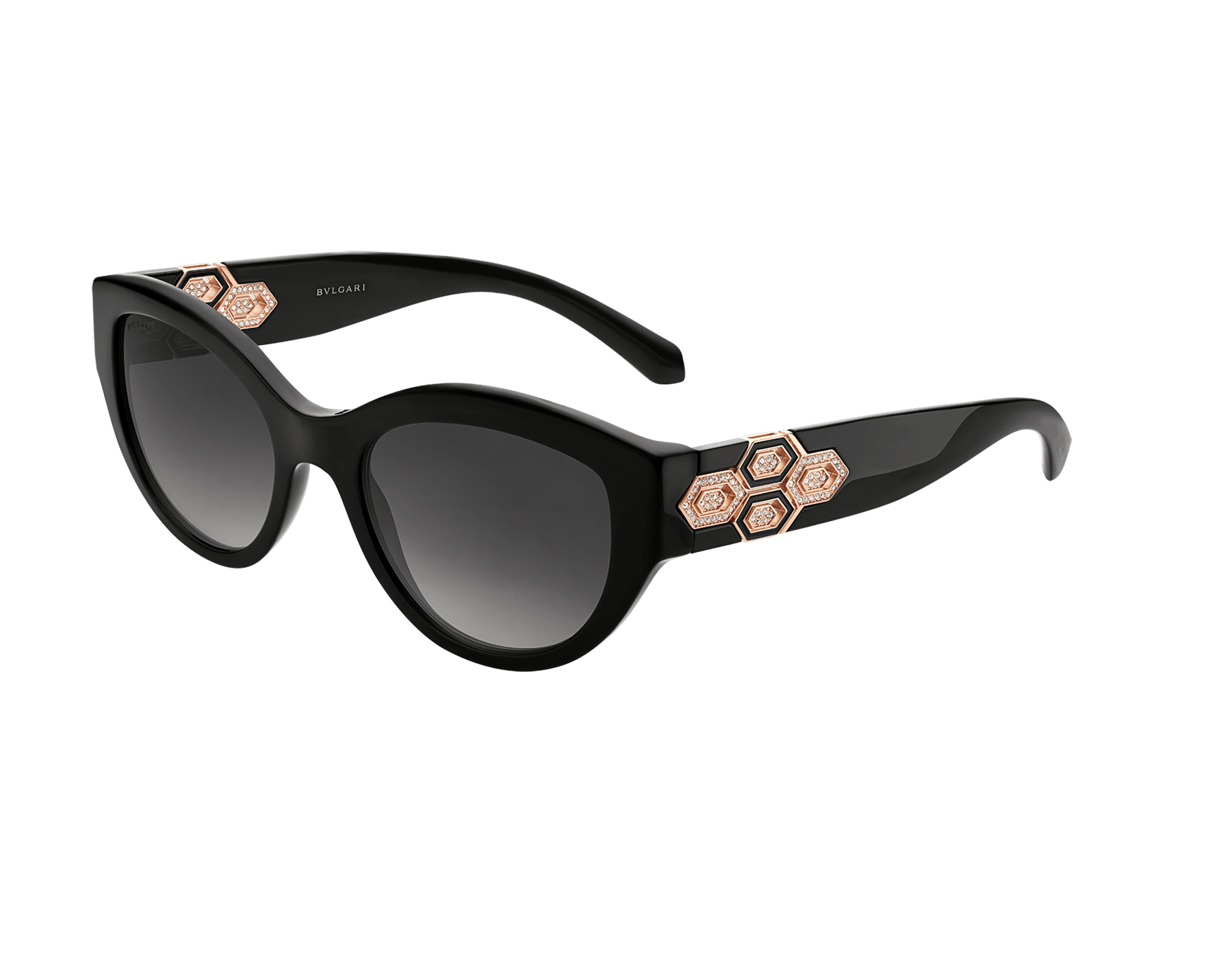 Bvlgari Serpenti cat-eye acetate sunglasses with Serpenti metal décor and crystals. 903844 image 1