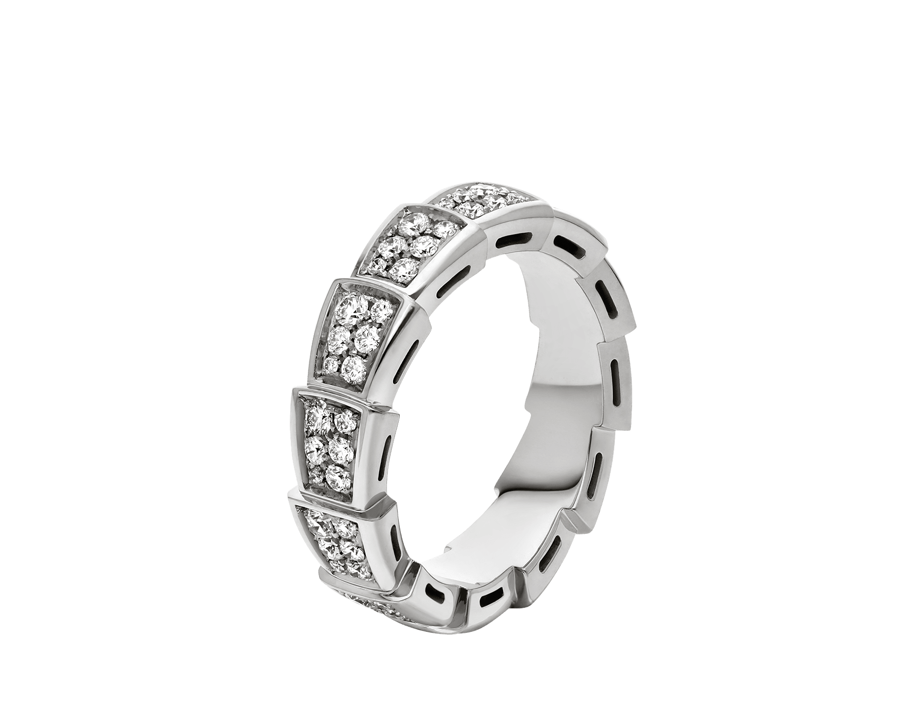 Serpenti Viper band ring in 18 kt white gold set with full pavé diamonds . AN857940 image 1