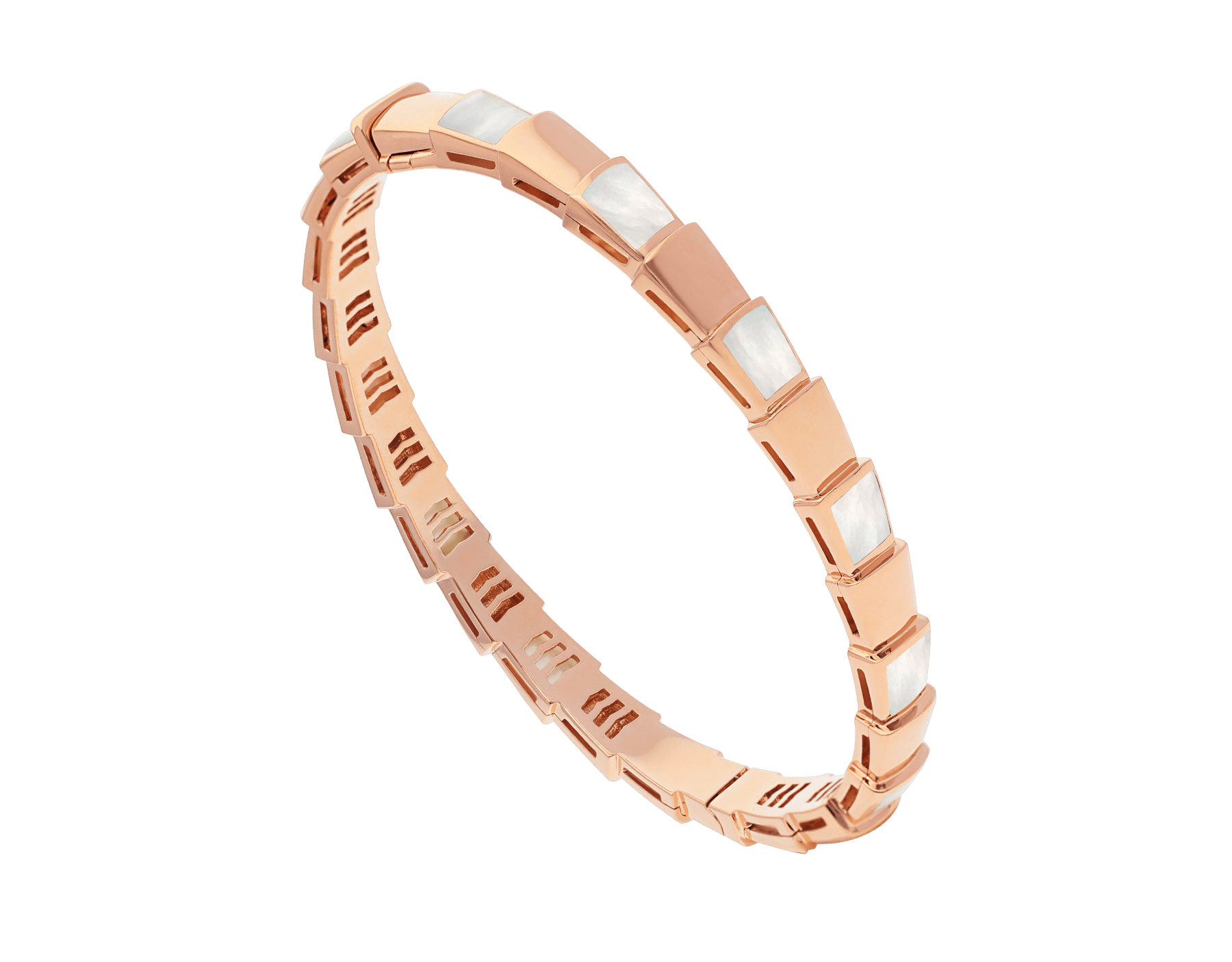 Serpenti Viper 18 kt rose gold bracelet set with mother-of-pearl elements. (height 6 mm) BR858419 image 1
