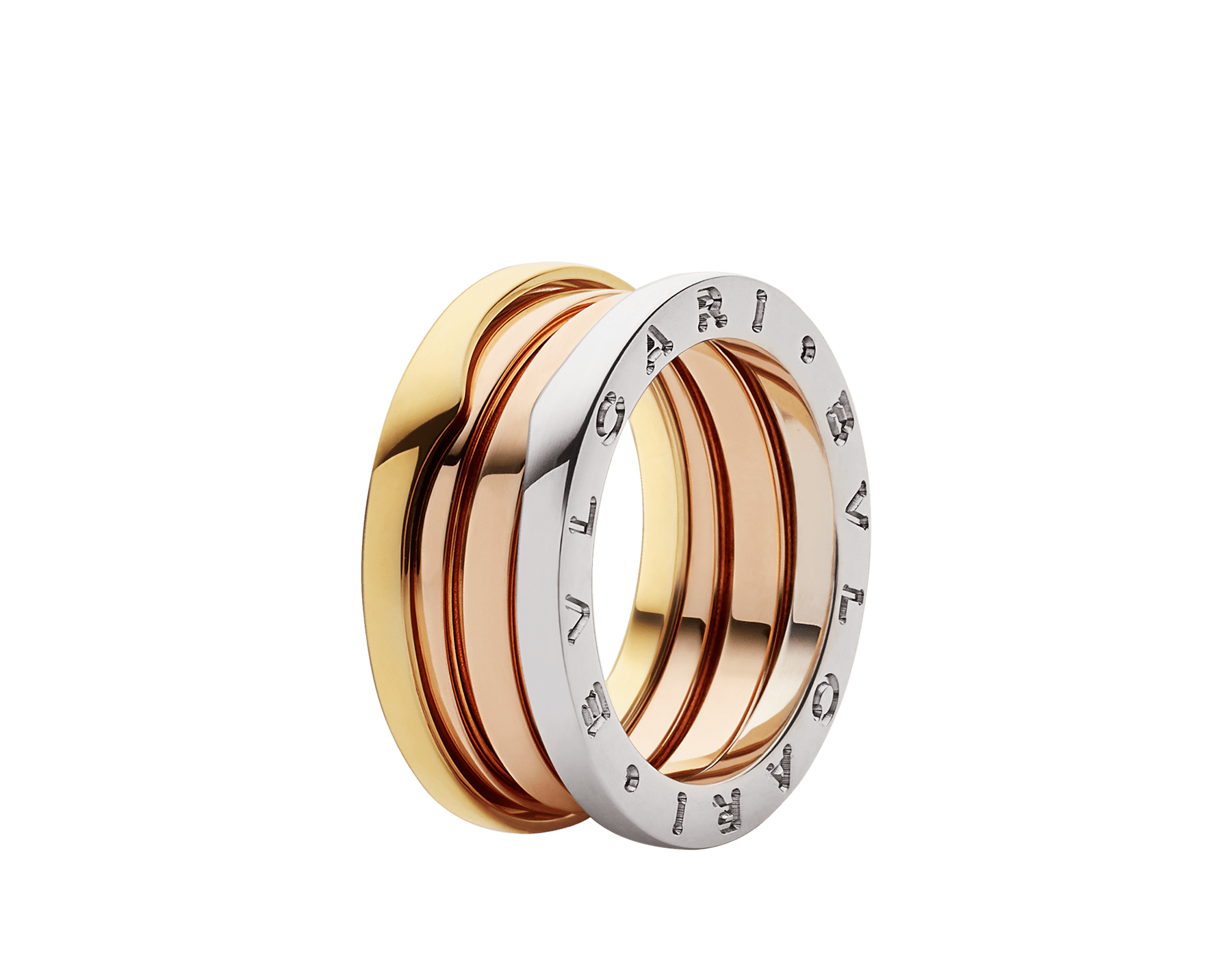 B.zero1 three-band ring in 18 kt rose, white and yellow gold. B-zero1-3-bands-AN857652 image 1