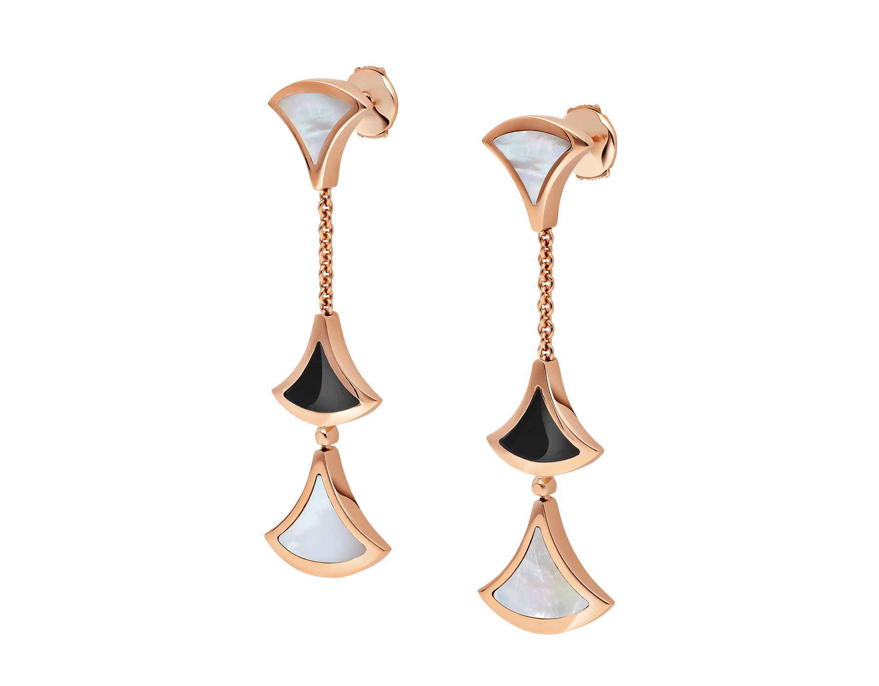 DIVAS' DREAM earrings in 18 kt rose gold set with onyx and mother-of-pearl elements. 350260 image 2
