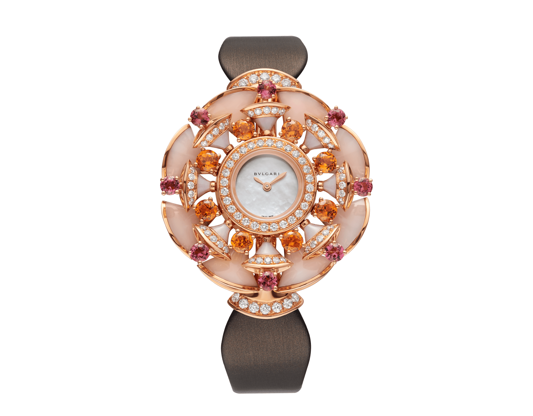DIVAS' DREAM watch with 18 kt rose gold case set with brilliant-cut diamonds, mandarin garnets, tourmalines and pink opal elements, white mother-of-pearl dial and taupe satin bracelet 102420 image 1