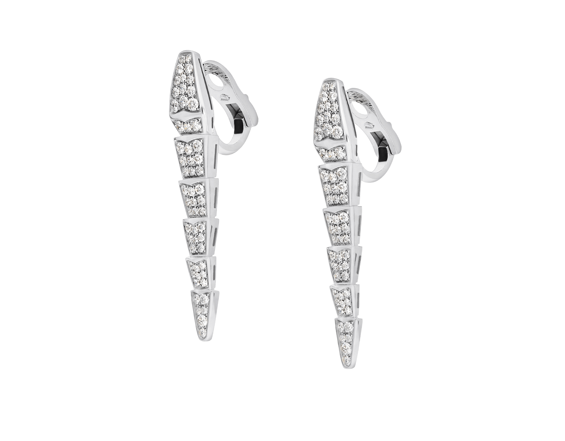 Serpenti earrings in 18 kt white gold, set with full pavé diamonds. 348320 image 2