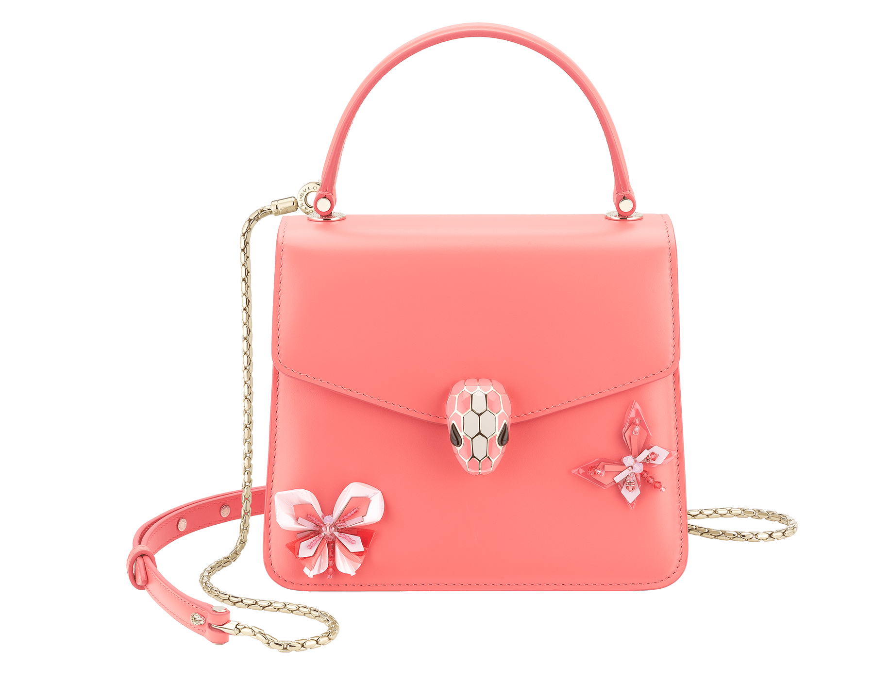 """Serpenti Forever "" crossbody bag in silky coral calf leather with two silky coral butterflies embroidered. Iconic snakehead closure in light gold plated brass enriched with silky coral and white agate enamel and black onyx eyes. 289248 image 1"