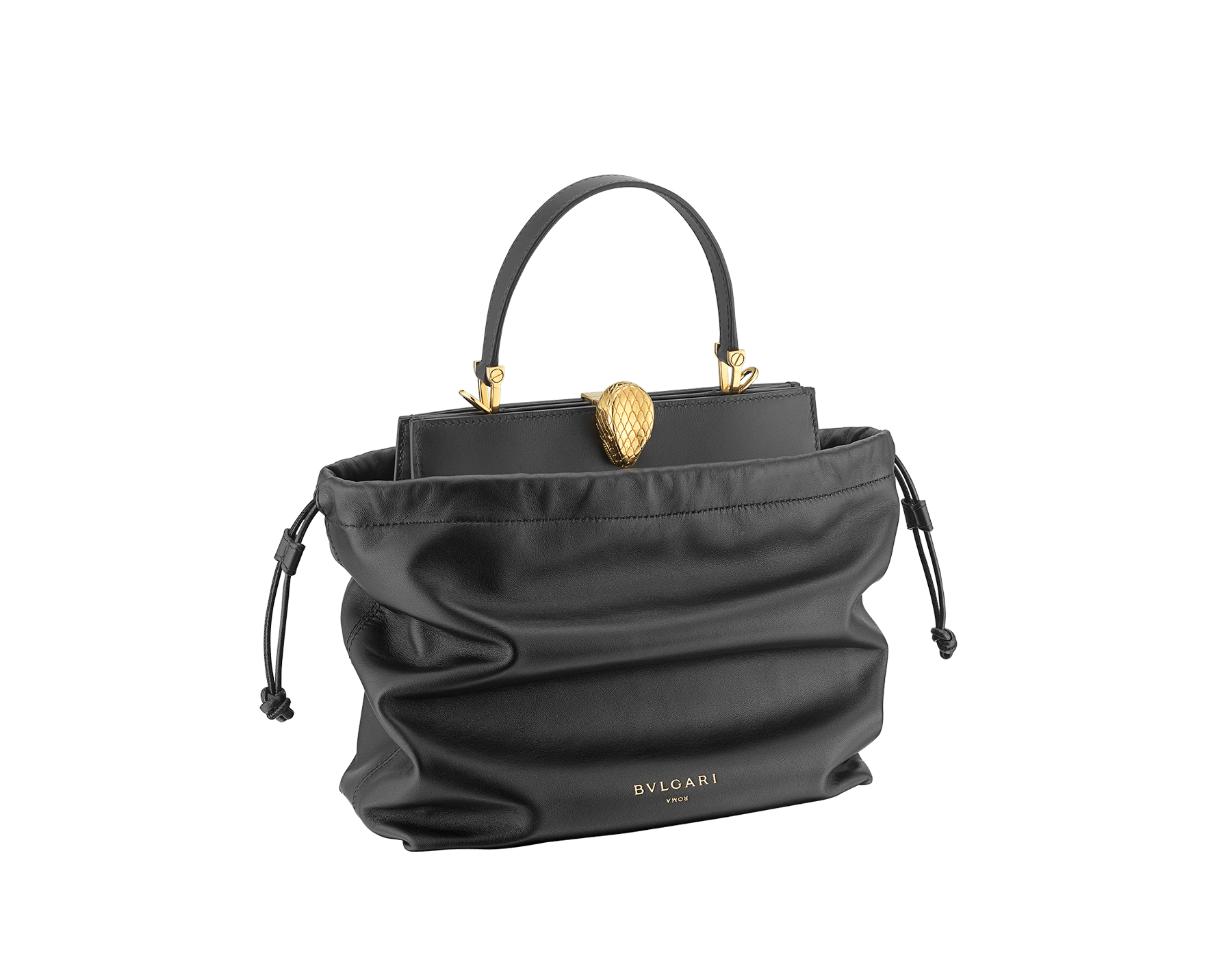 Alexander Wang x Bvlgari 2 in 1 satchel bag in black calf leather with black lambskin drawstring dust bag exterior. New Serpenti head closure in antique gold plated brass with tempting red enamel eyes. Limited edition. 288747 image 2
