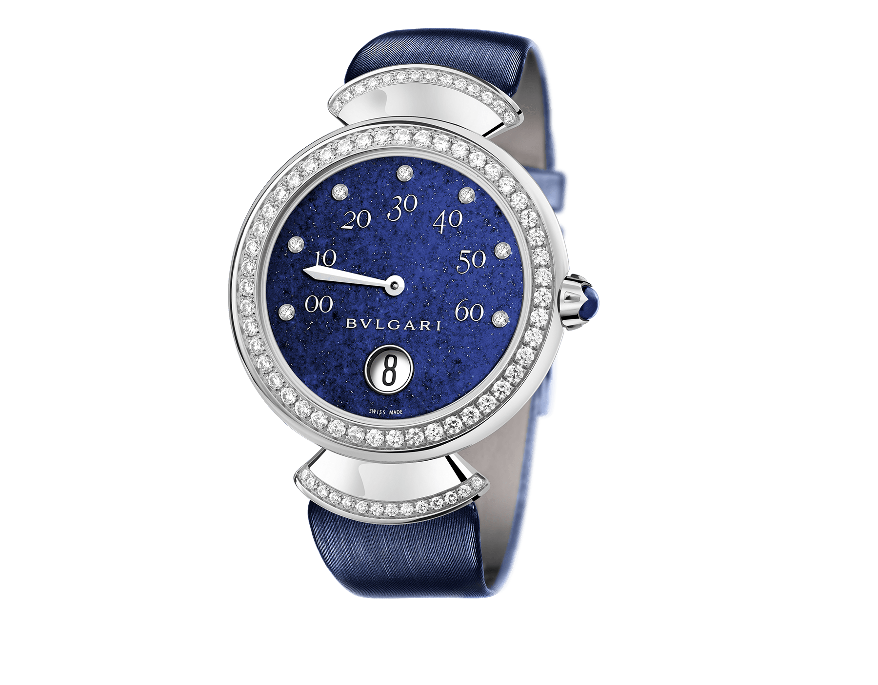 DIVAS' DREAM watch with mechanical manufacture movement, jumping hours, retrograde minutes (180°) and automatic winding. 18 kt white gold case set with brilliant-cut diamonds, lapis lazuli dial, diamond indexes and blue satin bracelet 102544 image 1