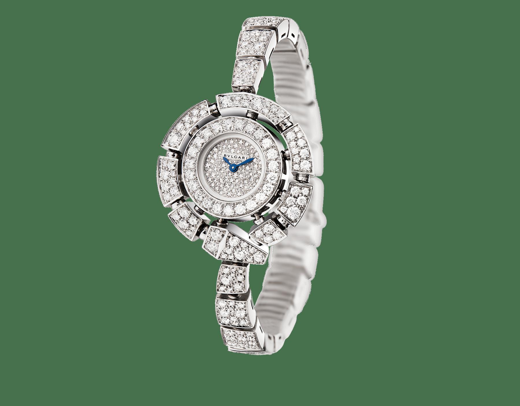 Montre Serpenti Incantati avec boîtier et bracelet en or blanc 18K sertis de diamants taille brillant, cadran pavé diamants en serti «neige». 102535 image 1