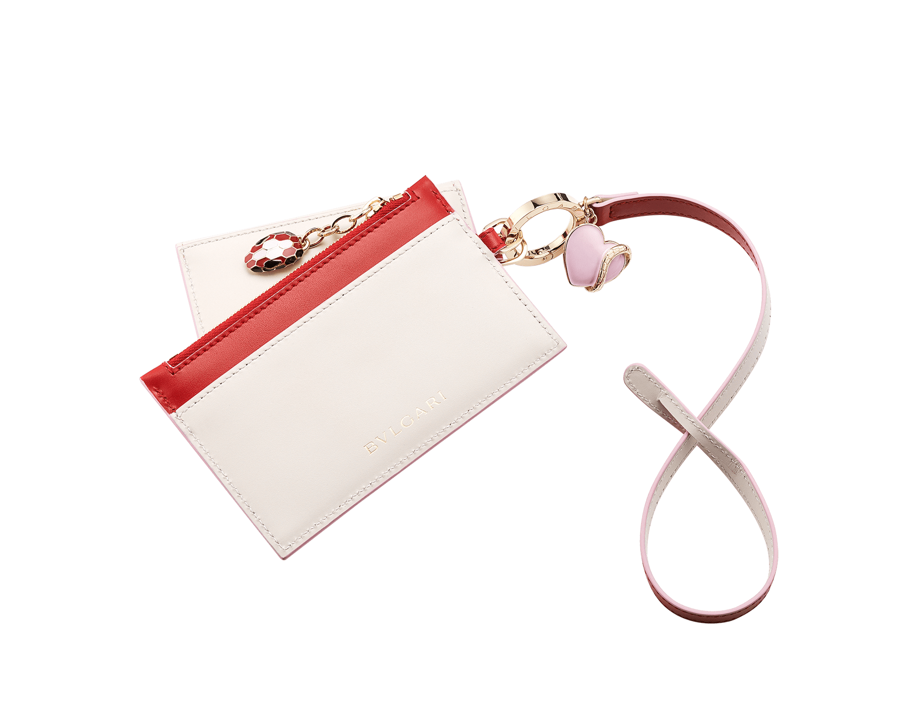 Serpenti Forever Duo card holder and coin purse in carmine jasper and rosa di Francia calf leather. Brass light gold plated key ring with a pink heart-shaped charm, snakehead stud closure and snakehead zip puller with black, carmine jasper and rosa di Francia enamel, and black enamel eyes. 289555 image 2