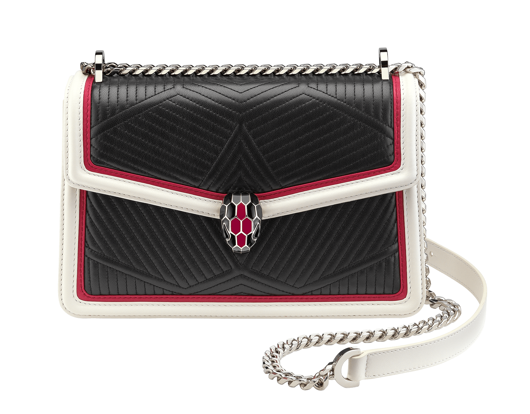 """""""Serpenti Diamond Blast"""" shoulder bag in black quilted nappa leather body and white agate and jazzy tourmaline calf leather frames. Iconic snakehead closure in palladium plated brass enriched with black and jazzy tourmaline enamel and black onyx eyes. 287186 image 1"""