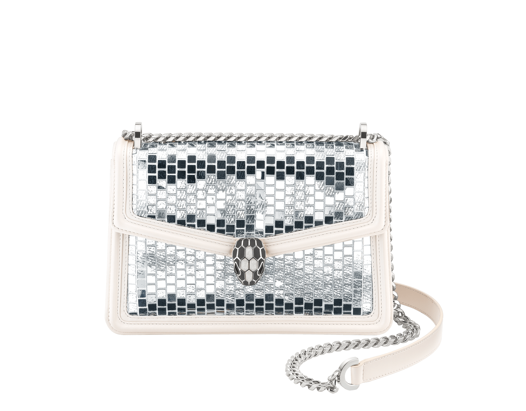"""""""Serpenti Diamond Blast"""" shoulder bag in white agate """"Mosaic Canvas"""" calf leather. Iconic snake head closure in palladium plated brass enriched with matte black and shiny white enamel and black onyx eyes. 289881 image 1"""