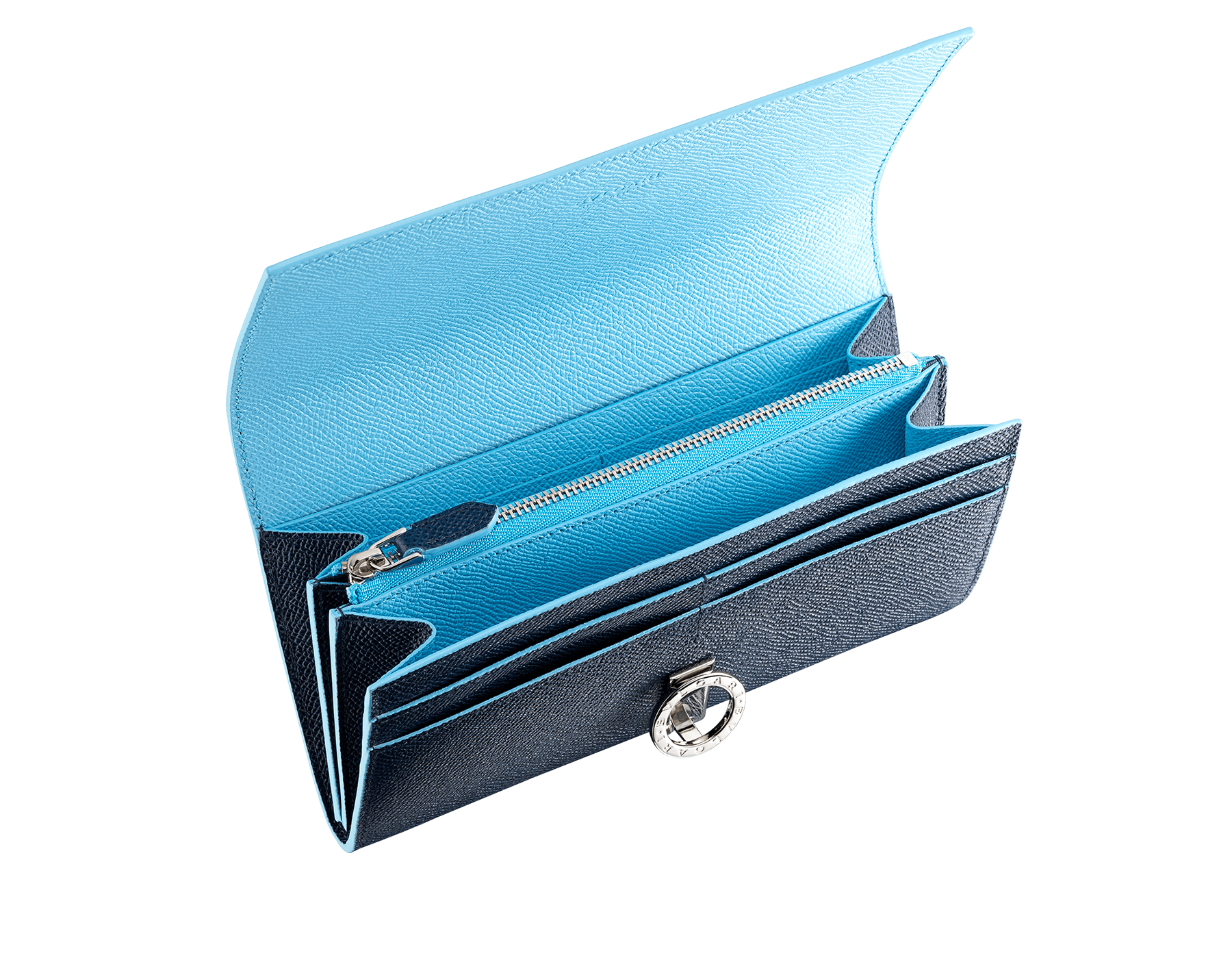"""Bvlgari Clip"" large wallet in Denim Sapphire blue and Aegean Topaz light blue grained calfskin. Iconic logo clip closure in palladium-plated brass. BCM-WLT-POCHE-16CCa image 2"