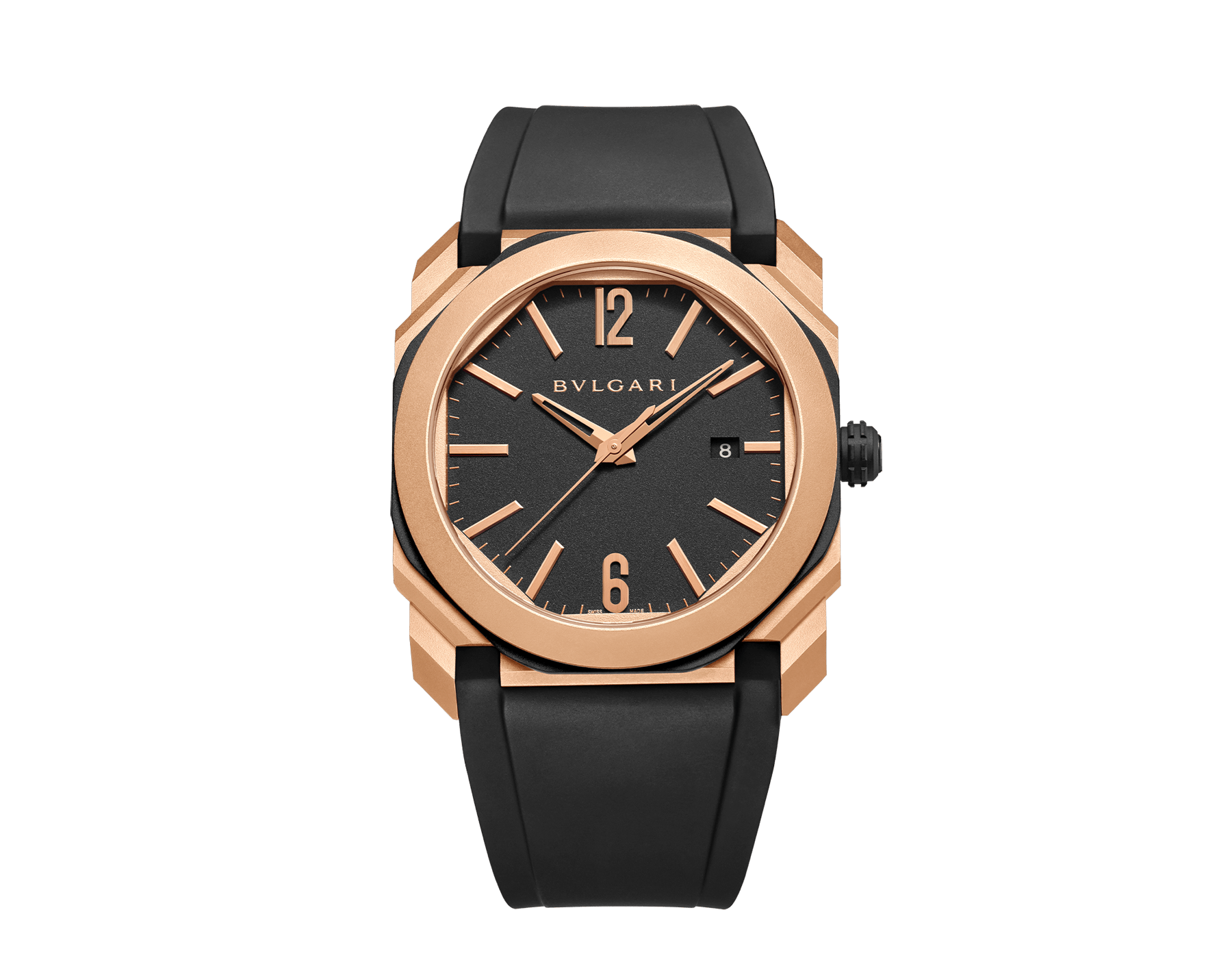 Octo L'Originale watch with mechanical manufacture movement, automatic winding and date, case in sandblasted steel with Diamond Like Carbon treatment and 18 kt rose gold, transparent case back, anthracite dial and black rubber bracelet. Water-resistant up to 100 metres 103203 image 1