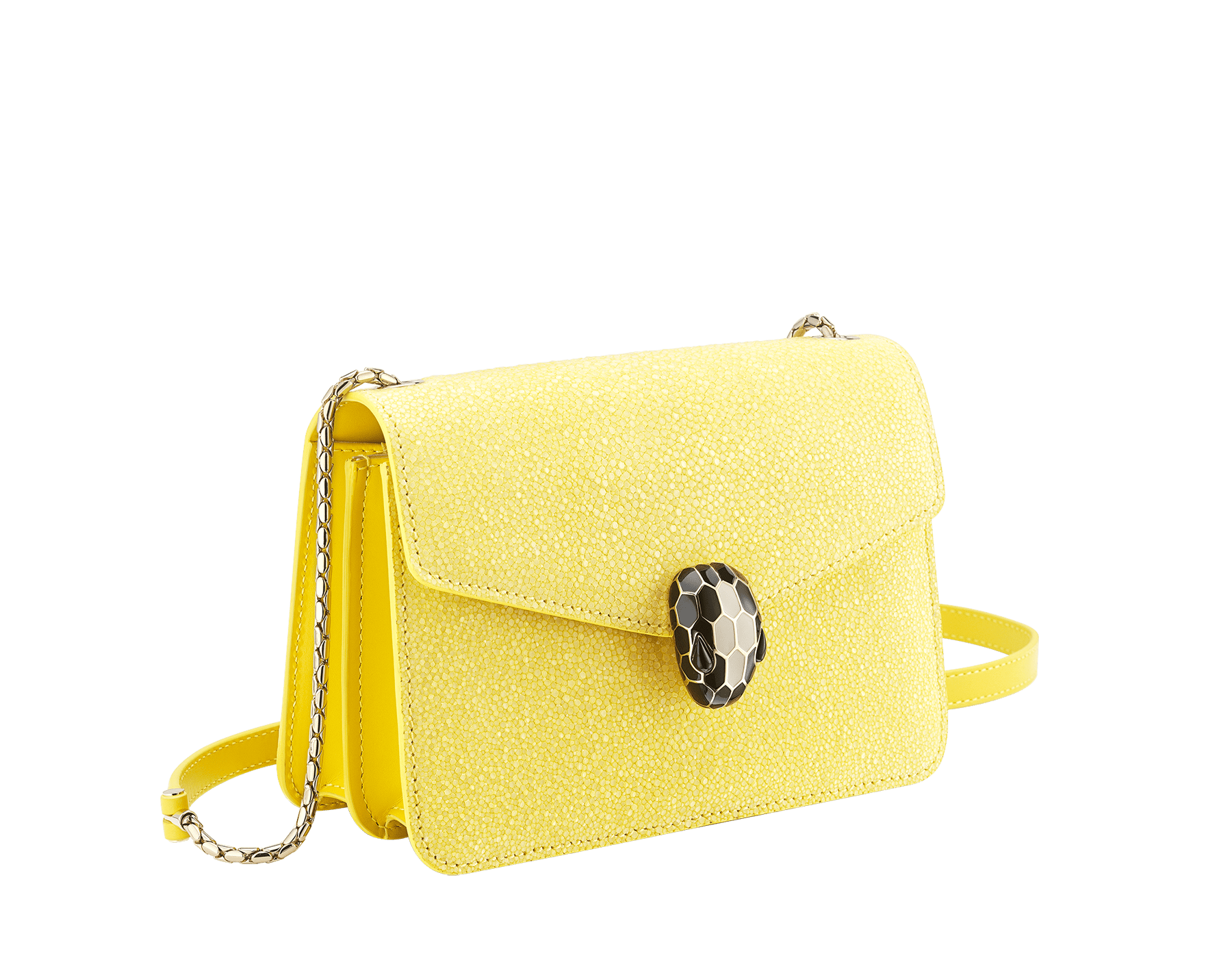 """Serpenti Forever"" crossbody bag in daisy topaz full galuchat skin body and daisy topaz calf leather sides. Iconic snakehead closure in light gold plated brass enriched with black and white enamel and black onyx eyes. 290242 image 2"