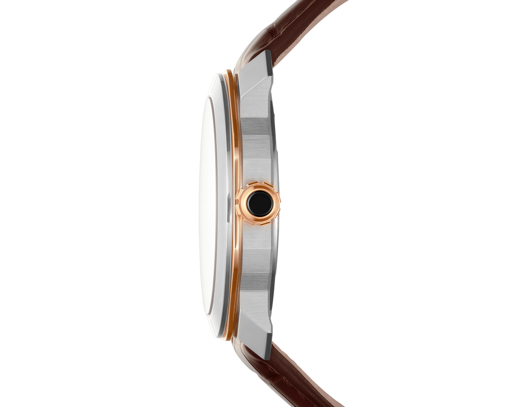 Octo Roma watch with mechanical manufacture movement, automatic winding, case in stainless steel and 18 kt rose gold, silver dial and brown alligator bracelet. 102703 image 3