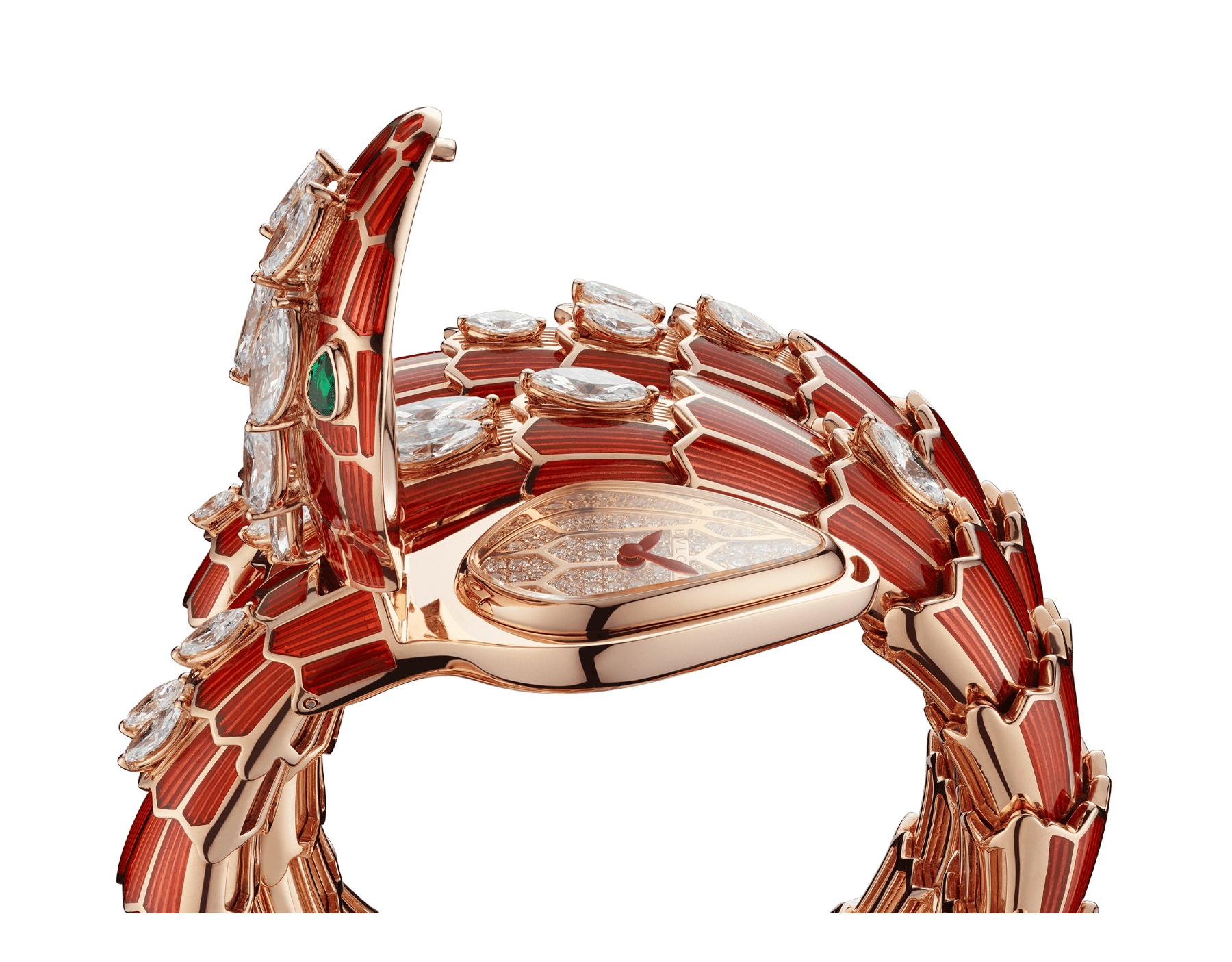 Serpenti Secret Watch with 18 kt rose gold head and double spiral bracelet, both coated with red lacquer and set with marquise-cut diamonds, emerald eyes and 18 kt rose gold dial set with brilliant cut diamonds. 102527 image 3