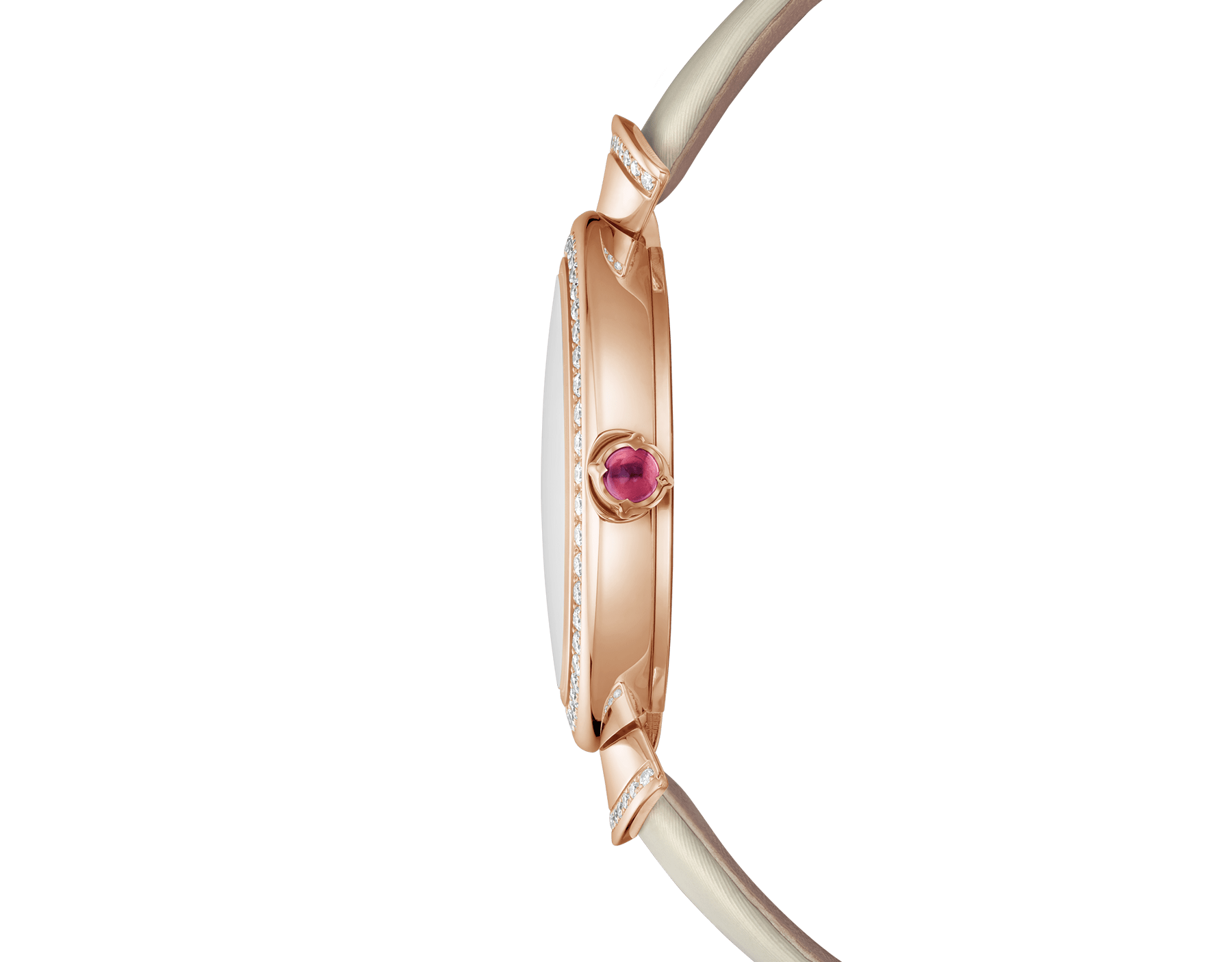 DIVAS' DREAM watch with 18 kt rose gold case set with brilliant-cut diamonds, natural acetate dial, diamond indexes and bronze satin bracelet 102435 image 3
