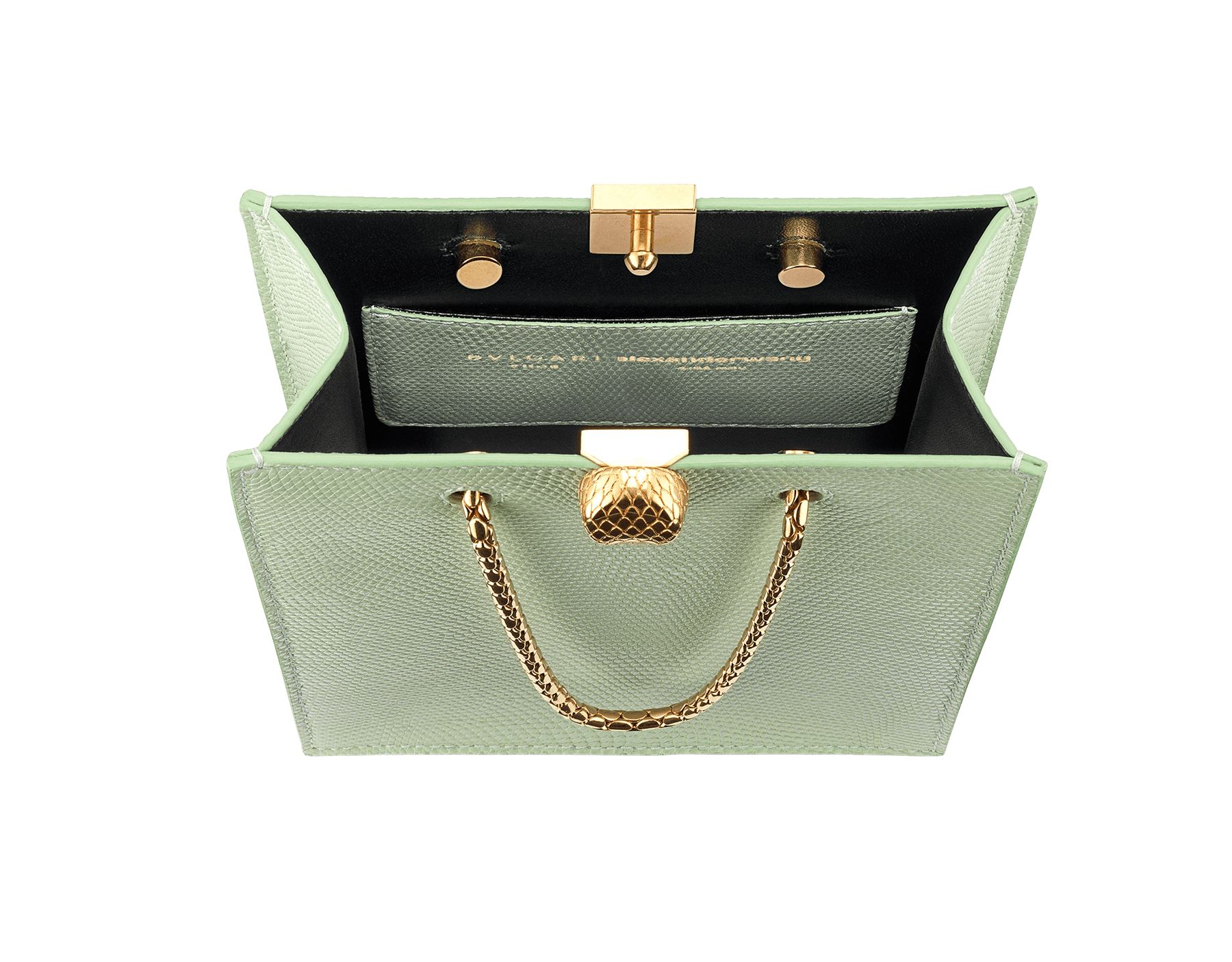 Alexander Wang x Bvlgari mini shopping tote bag in mint lizard skin and black calf leather. New Serpenti head closure in antique gold plated brass with tempting red enamel eyes. Limited edition. 288727 image 4