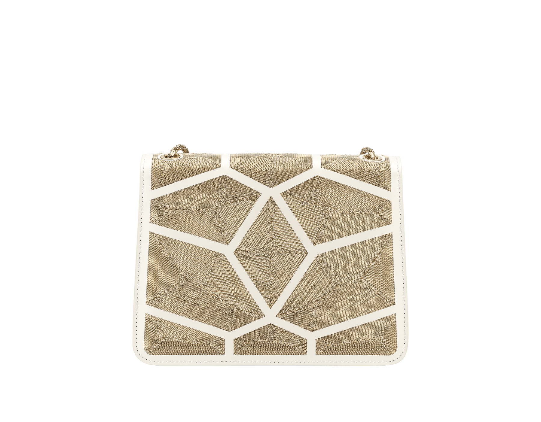 """Serpenti Forever"" crossbody bag in white agate calf leather with ""Million Chain"" décor. Iconic snake head closure in light gold plated brass enriched with black and white agate enamel, and black onyx eyes. 288907 image 3"