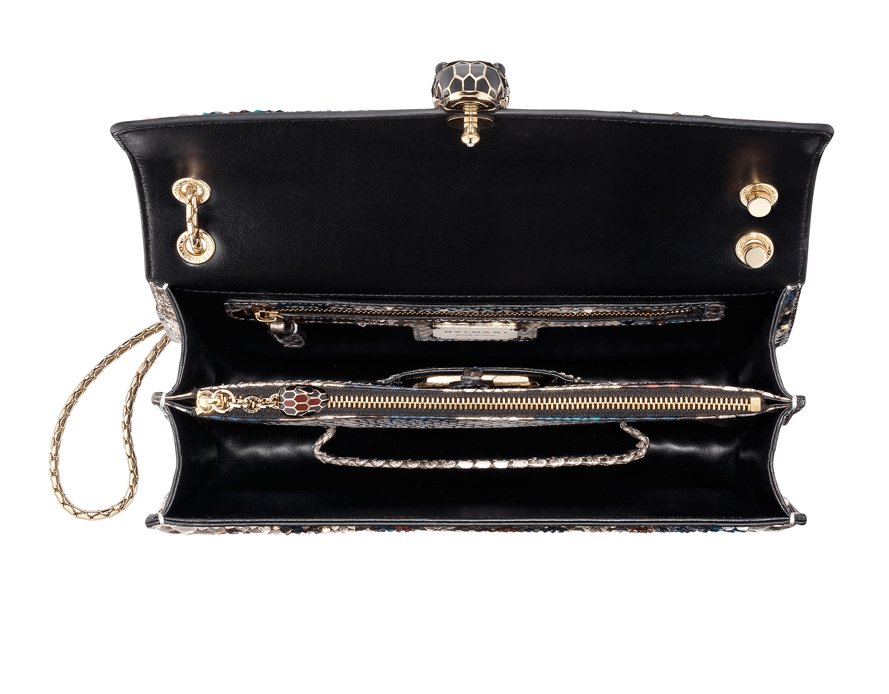 """Serpenti Forever"" shoulder bag in white agate Lunar python skin. Iconic snakehead closure in light gold plated brass enriched with black and roman garnet enamel and black onyx eyes. 521-Pa image 5"