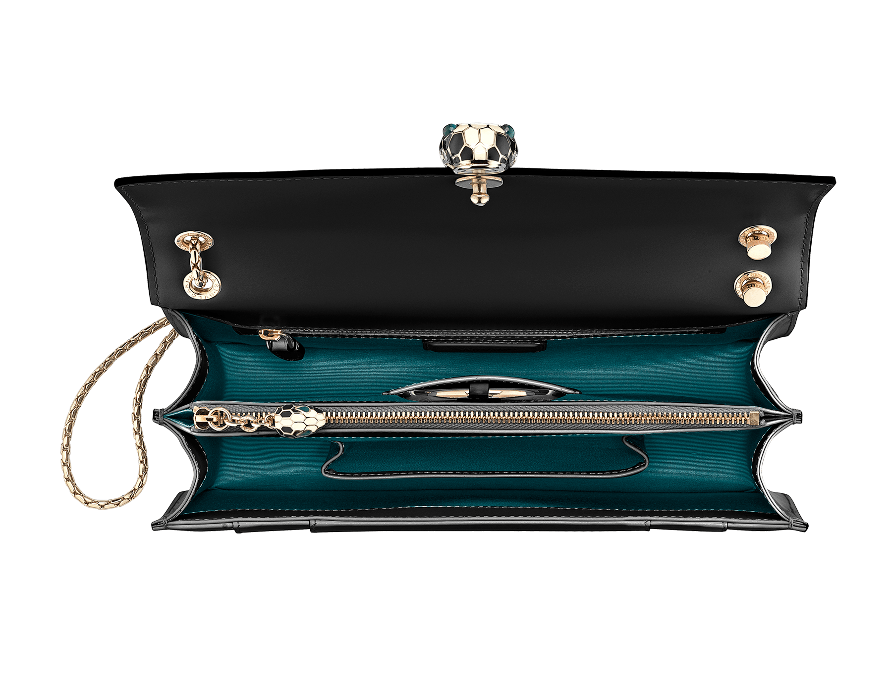 Black calf leather shoulder bag with brass light gold plated black and white enamel Serpenti head closure with malachite eyes. 521-CLa image 4