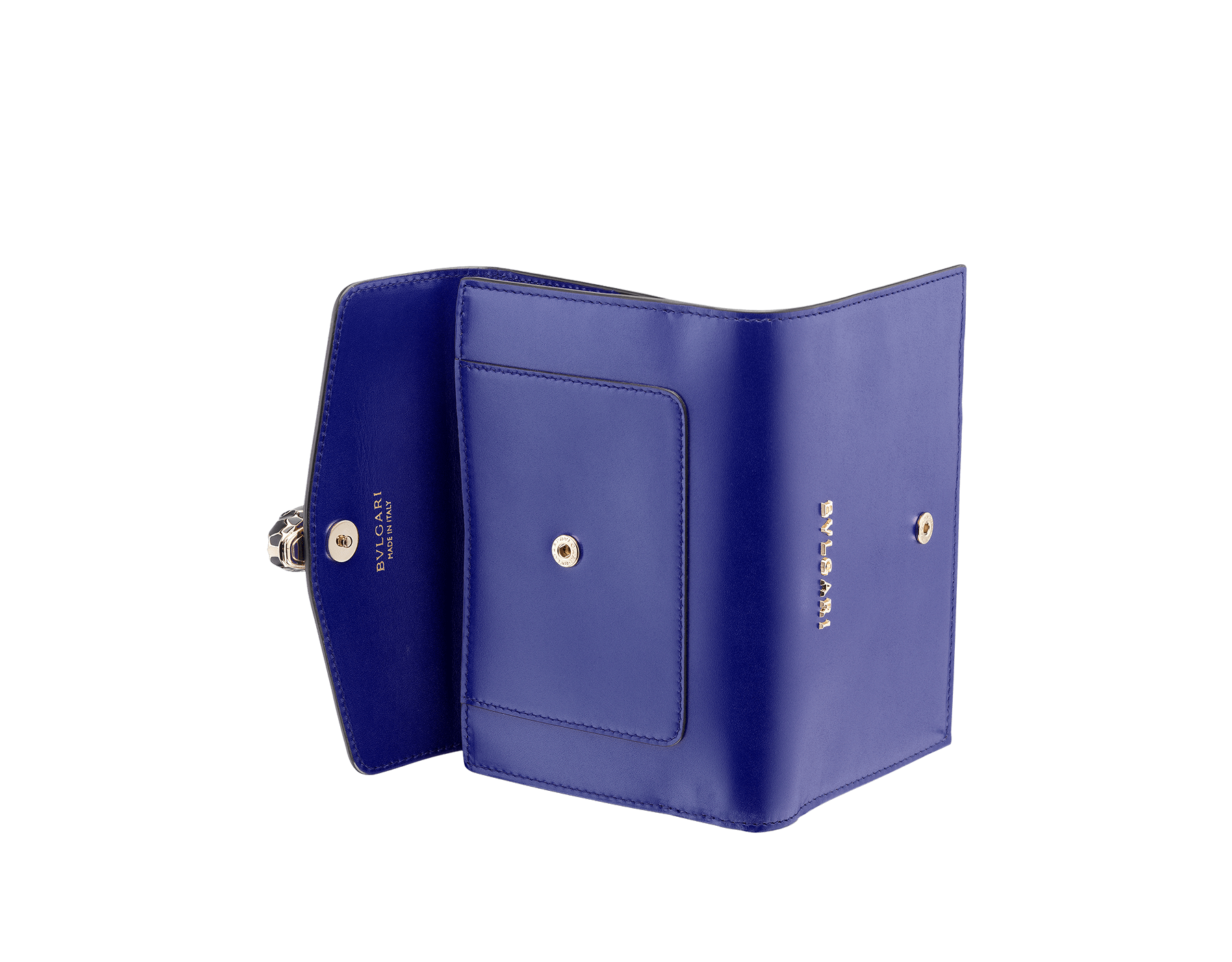 Compact pochette in royal sapphire calf leather, teal topaz calf leather and plum amethyst nappa lining. Brass light gold plated Serpenti head stud closure with green malachite eyes. SEA-COMPPOCHETTE image 3