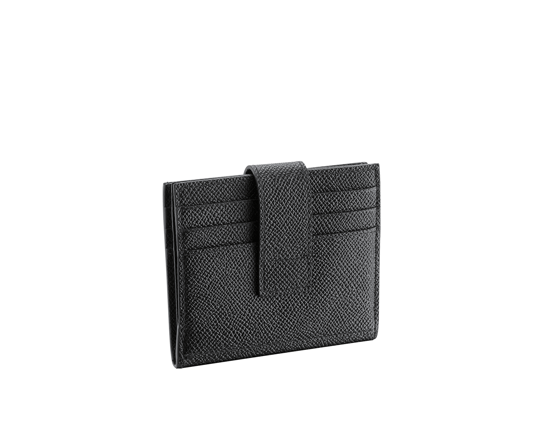 BVLGARI BVLGARI folded credit card holder in black grain calf leather. Iconic logo décor in palladium plated brass. 289232 image 3