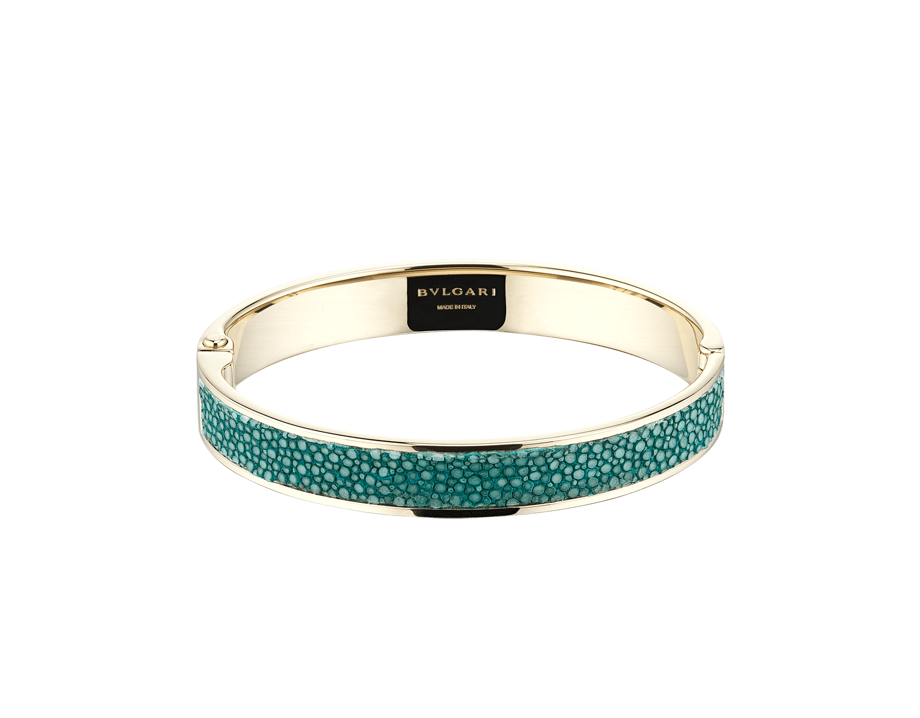 "New ""BVLGARI BVLGARI"" light gold bangle with an emerald-green galuchat skin insert and hinge bearing the BVLGARI logo. Engraved logo on the inside. HINGEBBBRACLT-G-EG image 1"