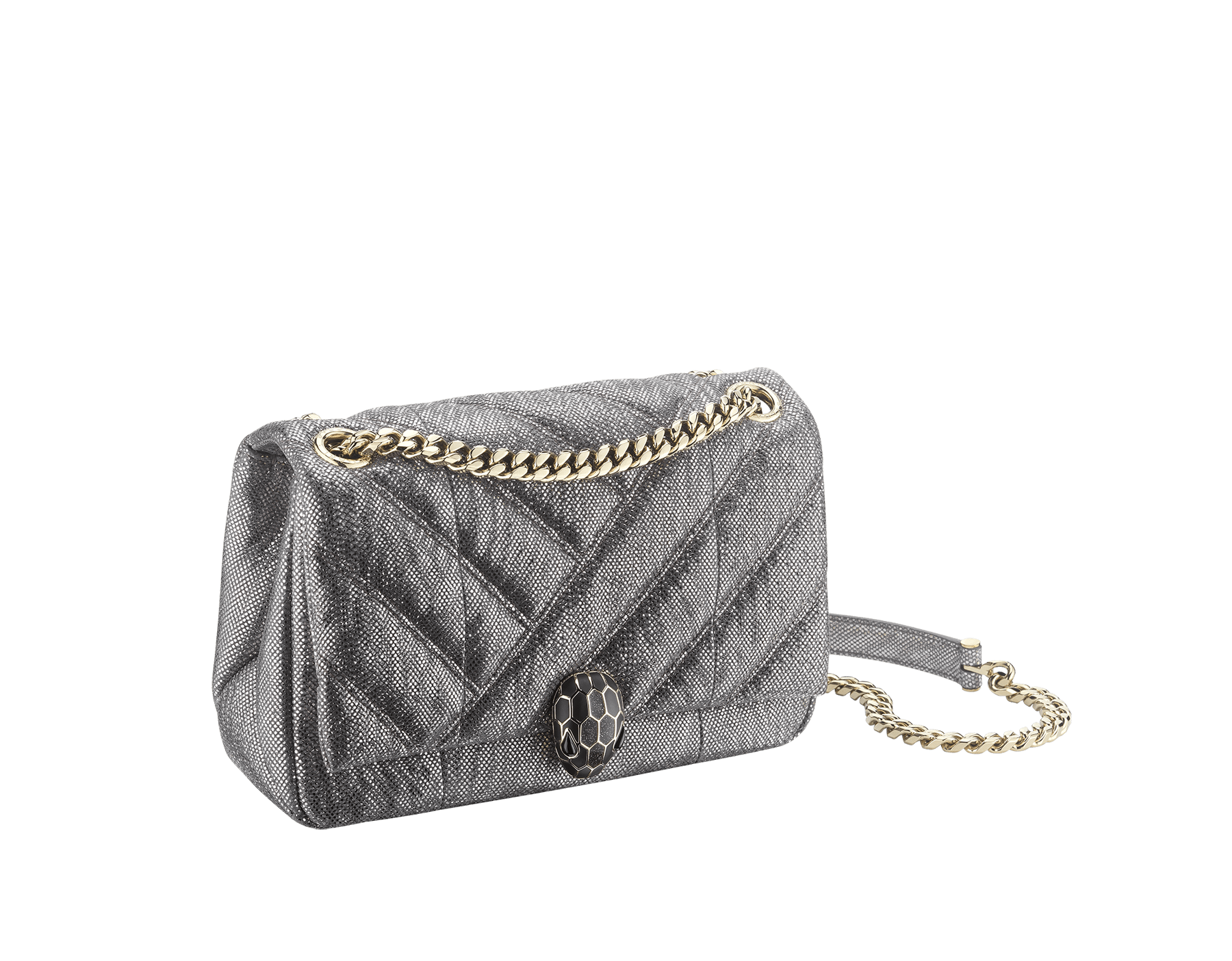 Serpenti Cabochon shoulder bag in soft matelassé charcoal diamond metallic karung skin with graphic motif. Snakehead closure in light gold plated brass decorated with matte black and glitter charcoal diamond enamel, and black onyx eyes. 290237 image 2
