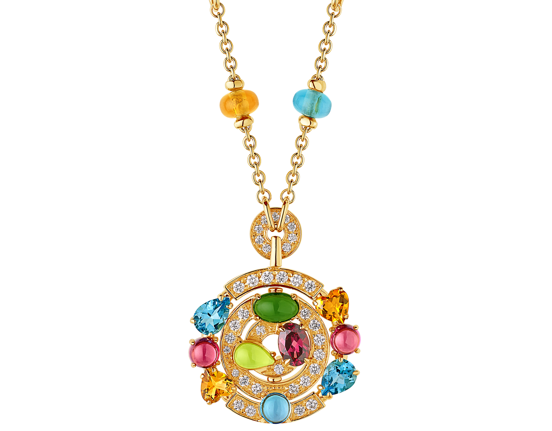 Cerchi 18 kt yellow gold large pendant necklace set with blue topazes, amethysts, green tourmalines, peridots, citrine quartz, rhodolite garnets and pavé diamonds 338229 image 1