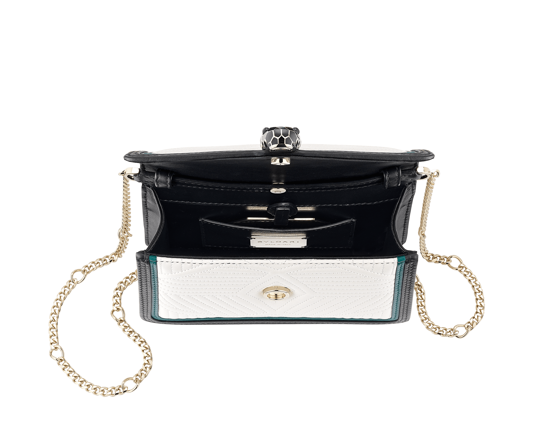 """Serpenti Diamond Blast"" crossbody micro bag with white agate quilted nappa leather body and deep jade and black calf leather frames. Iconic snakehead closure in light gold-plated brass enriched with deep jade and black enamel and black onyx eyes. 288106 image 4"