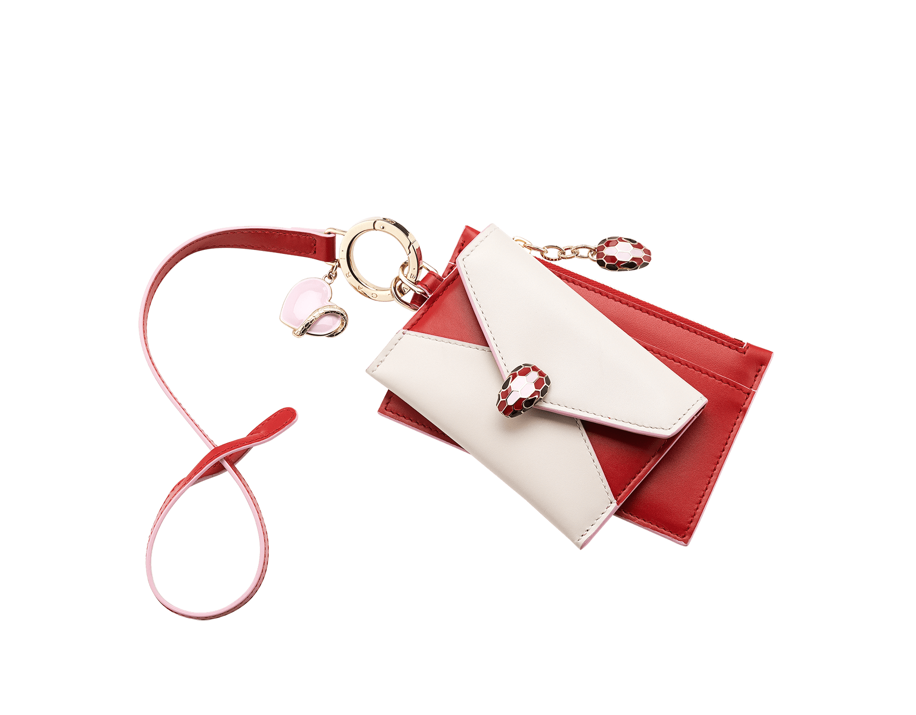 Serpenti Forever Duo card holder and coin purse in carmine jasper and rosa di Francia calf leather. Brass light gold plated key ring with a pink heart-shaped charm, snakehead stud closure and snakehead zip puller with black, carmine jasper and rosa di Francia enamel, and black enamel eyes. 289555 image 1