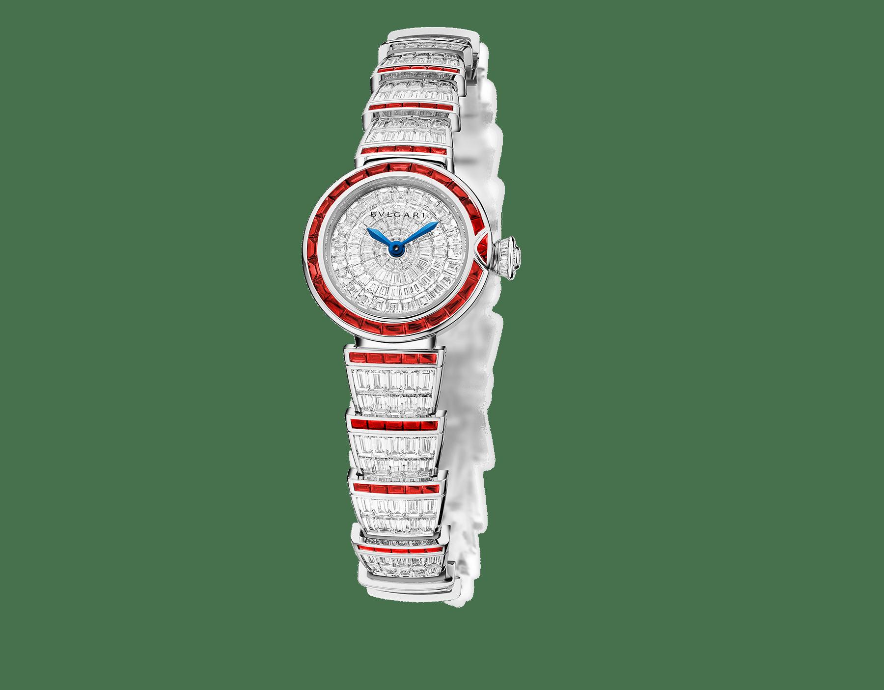 LVCEA Uhr mit Gehäuse und Armband aus 18 Karat Weißgold mit Diamanten im Baguetteschliff und Rubinen sowie Zifferblatt voll ausgefasst mit Diamanten. 102464 image 1