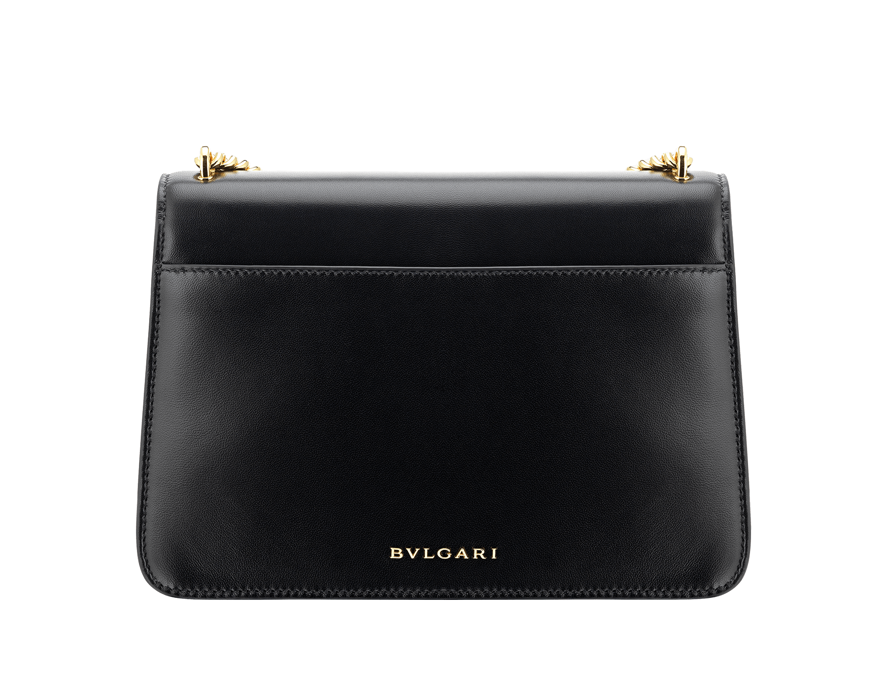 """""""Serpenti Forever"""" maxi chain crossbody bag in black nappa leather, with black nappa leather internal lining. New Serpenti head closure in gold-plated brass, finished with red enamel eyes. 290945 image 3"""