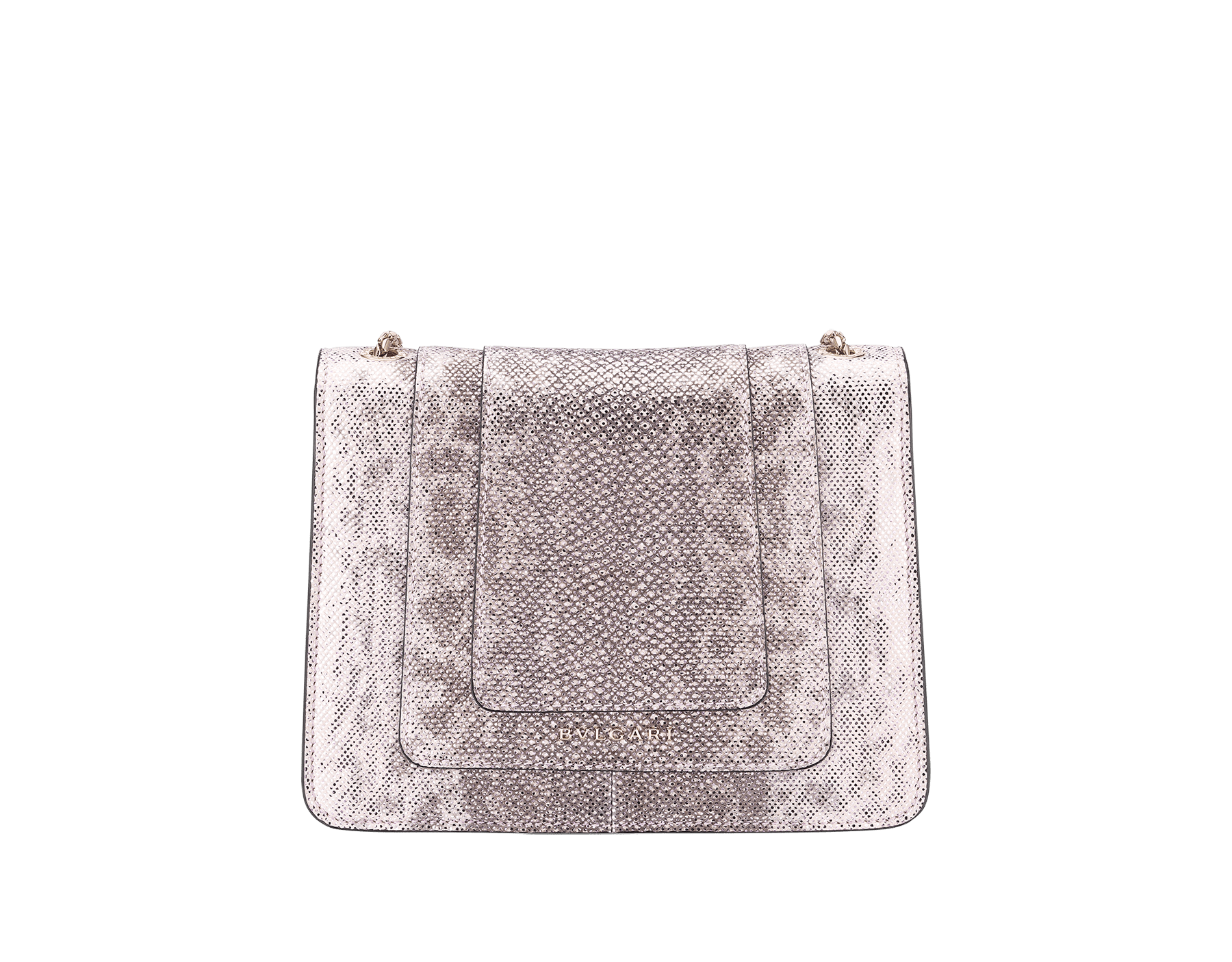 """Serpenti Forever"" crossbody bag in rosa di francia metallic karung skin. Iconic snakehead closure in light gold plated brass embellished with black and glitter rosa di francia enamel and black onyx eyes. 288781 image 4"