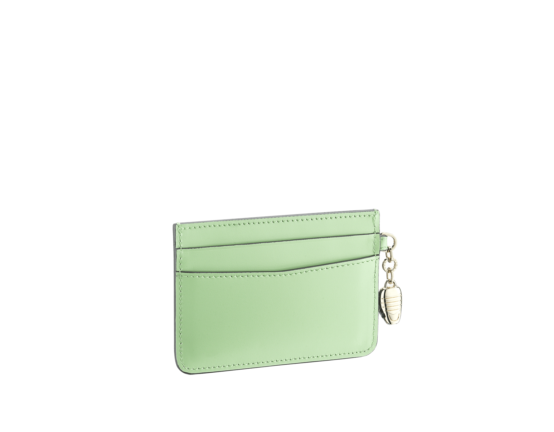 """Serpenti Forever"" card holder in mint calf leather. Iconic snakehead charm in black and white agate enamel, with green emerald enamel eyes. SEA-CC-HOLDER-CLa image 2"