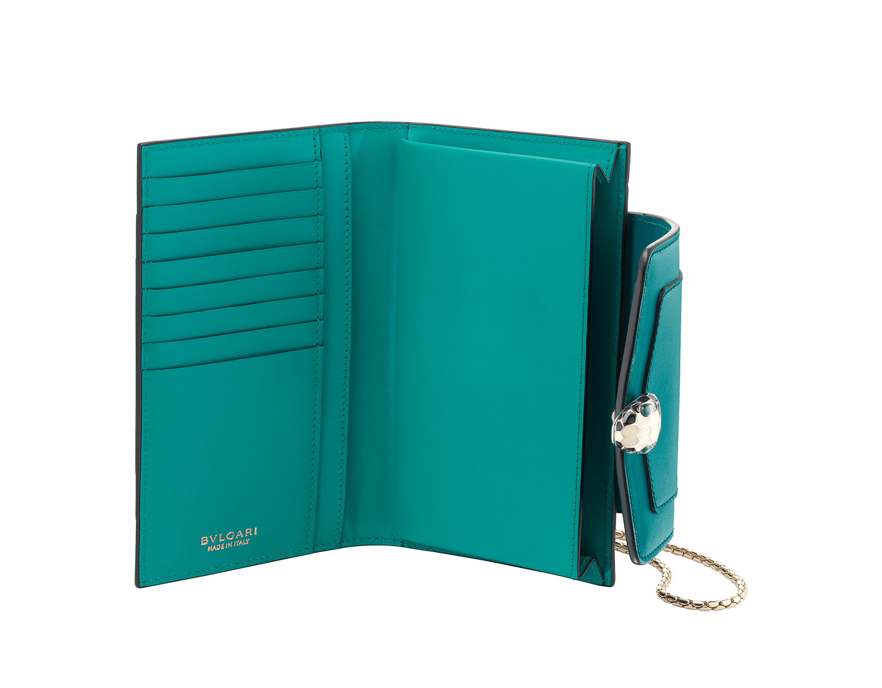 Techno-hybrid Serpenti Forever in deep jade calf leather, with tropical tourquoise calf leather lining. Brass light gold plated Serpenti head stud closure in black and white enamel, with green enamel eyes. 288026 image 2