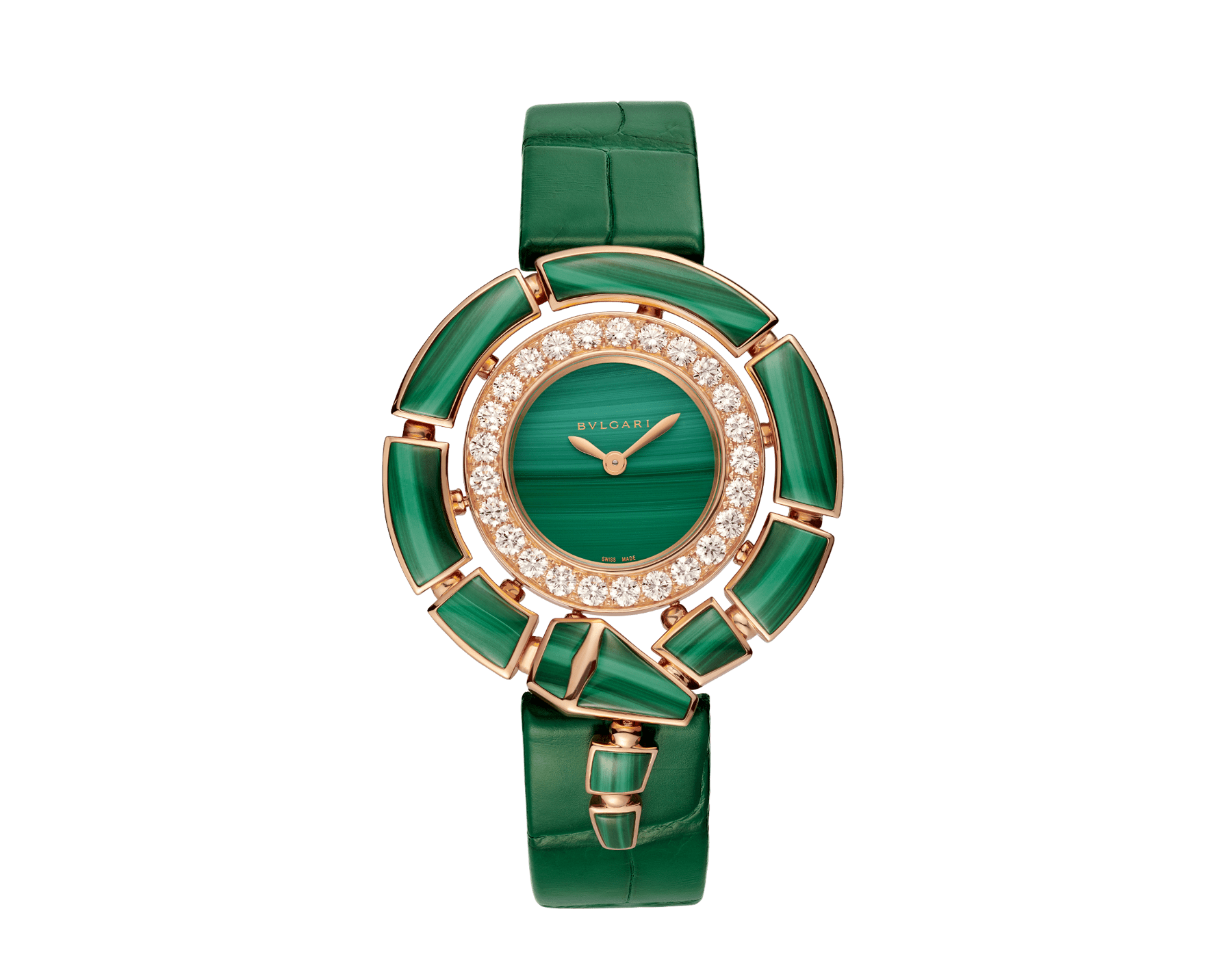 Serpenti Incantati watch with 18 kt rose gold case set with brilliant-cut diamonds and malachite elements, malachite dial and green alligator bracelet 102871 image 1