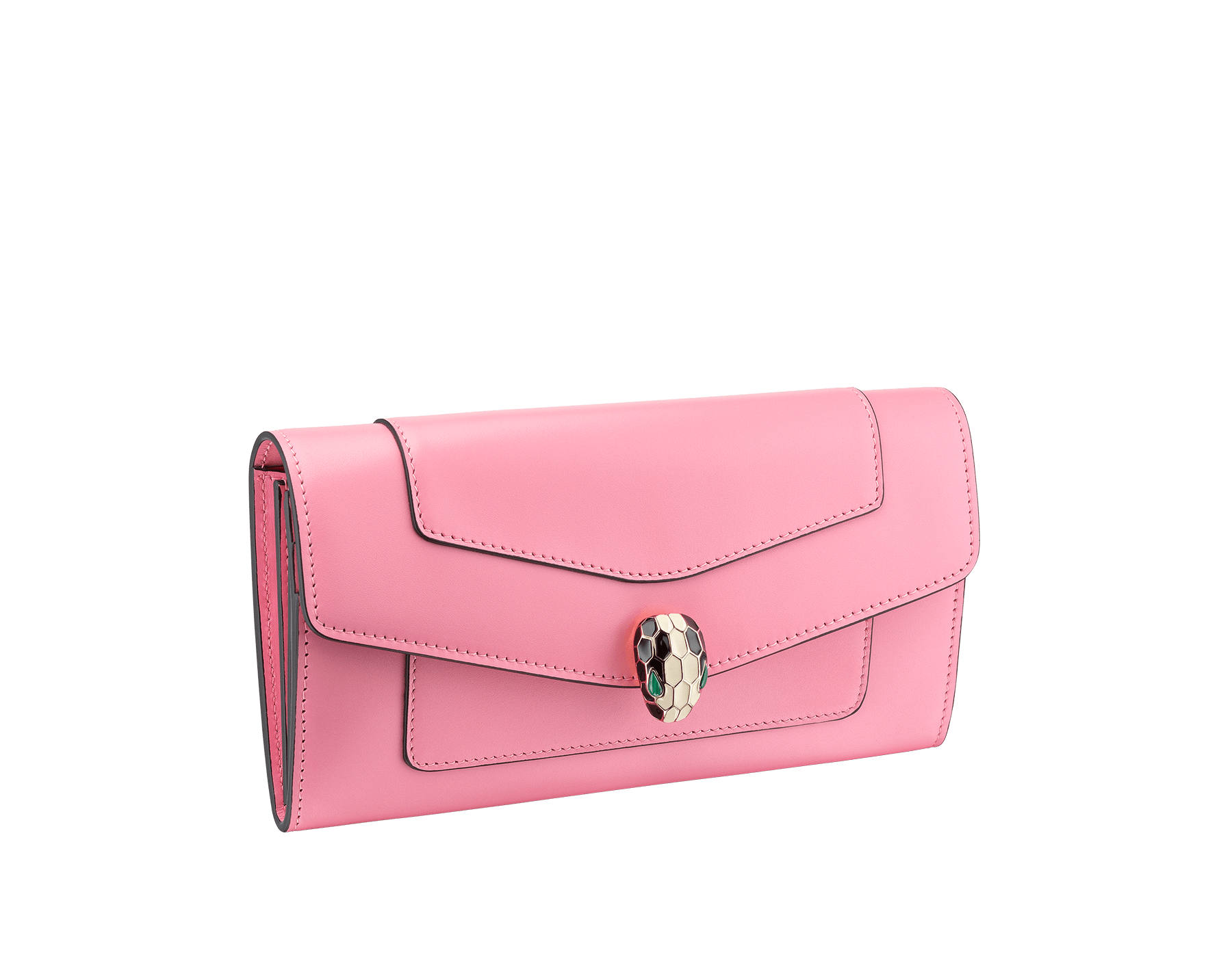 Serpenti Forever wallet pochette in candy quartz and carmine jasper calf leather. Iconic snakehead stud closure in black and white enamel, with green malachite eyes 287147 image 1