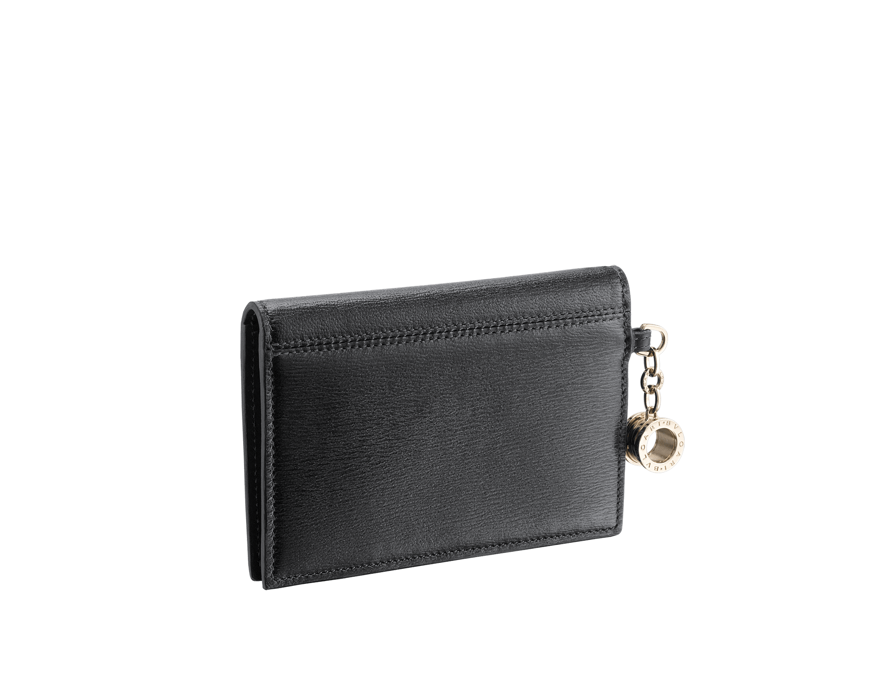 B.zero1 folded credit card holder in black goatskin. Iconic B.zero1 charm in light gold plated brass. 288236 image 3