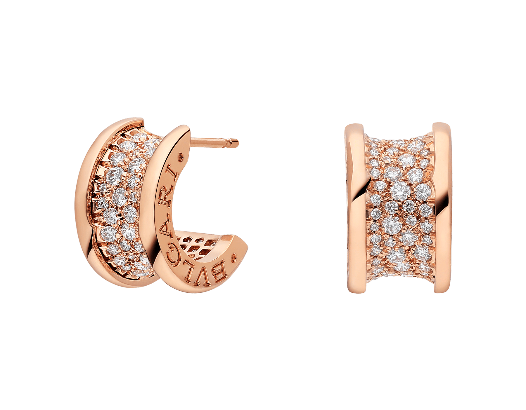 B.zero1 earrings in 18 kt rose gold set with pavé diamonds on the spiral. 347814 image 1