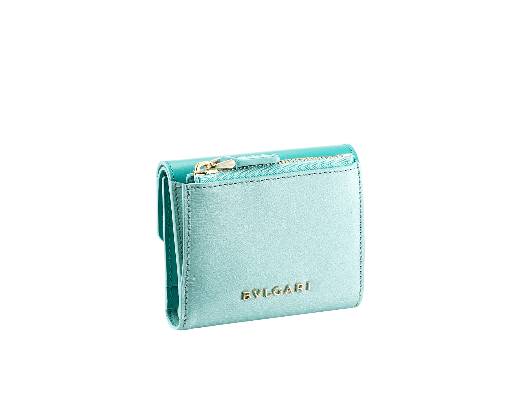 Serpenti Forever compact wallet in arctic jade calf leather and glacier turquoise goatskin. Iconic light gold plated brass snakehead stud closure in glacier turquoise and arctic jade enamel, with black onyx eyes. SEA-SLIMCOMPACT-CLb image 3