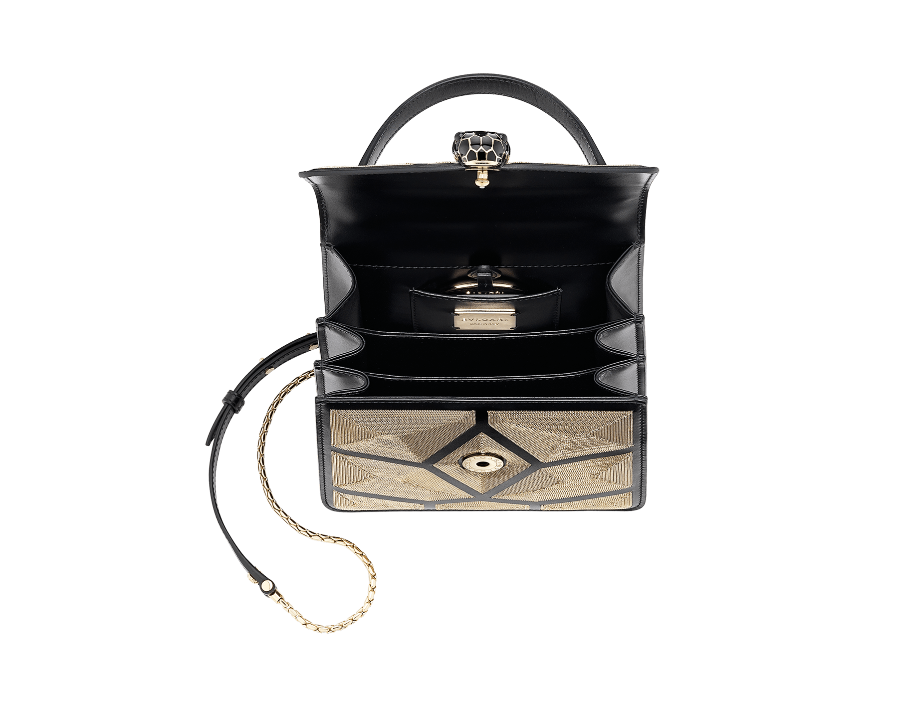 """Serpenti Forever"" crossbody bag in black calf leather and Million Chain motif body and black calf leather sides. Iconic snake head closure in light gold-plated brass enriched with black enamel and black onyx eyes. 752-CP image 4"