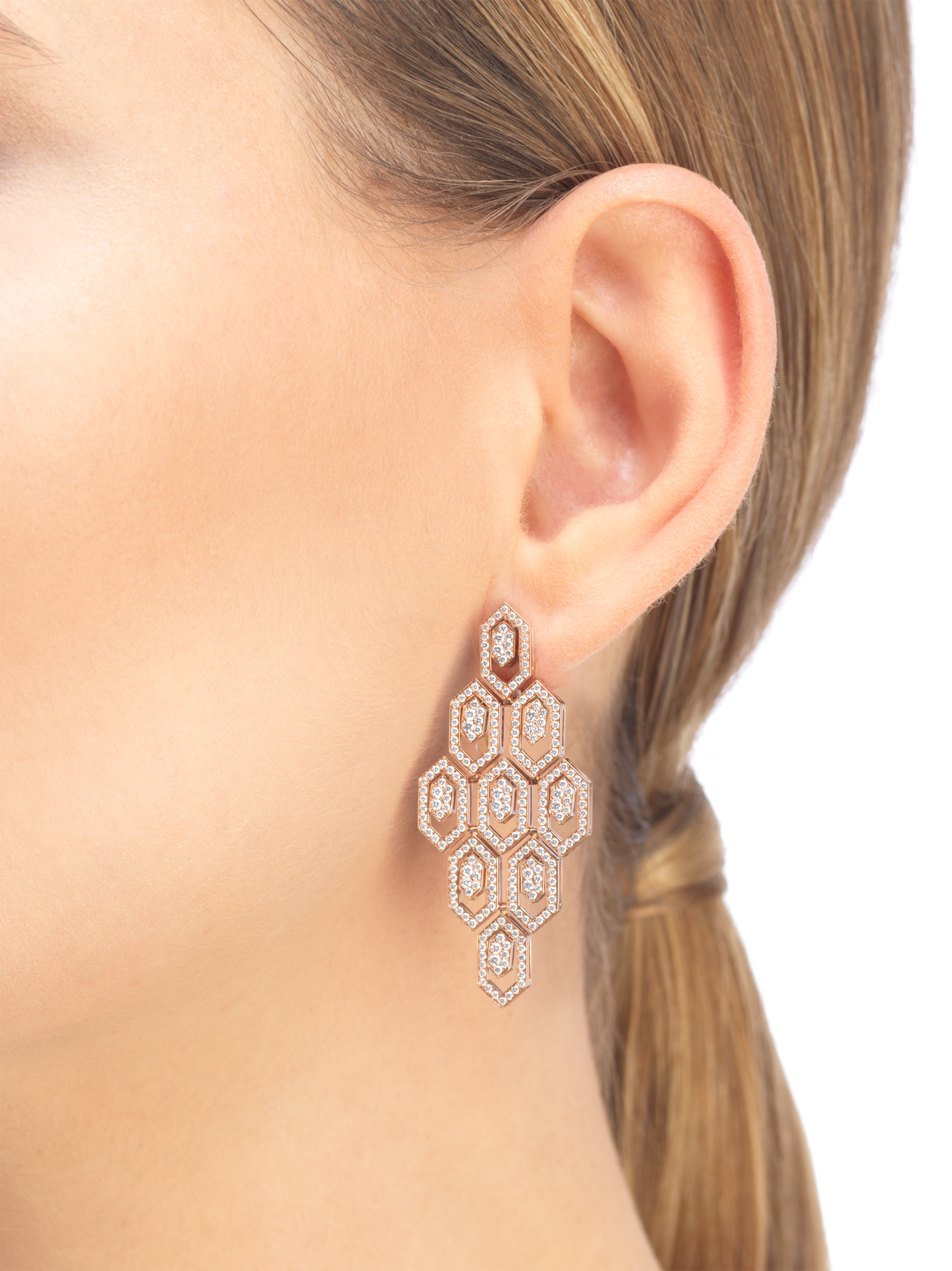 Serpenti 18 kt rose gold earrings set with pavé diamonds. 356507 image 4