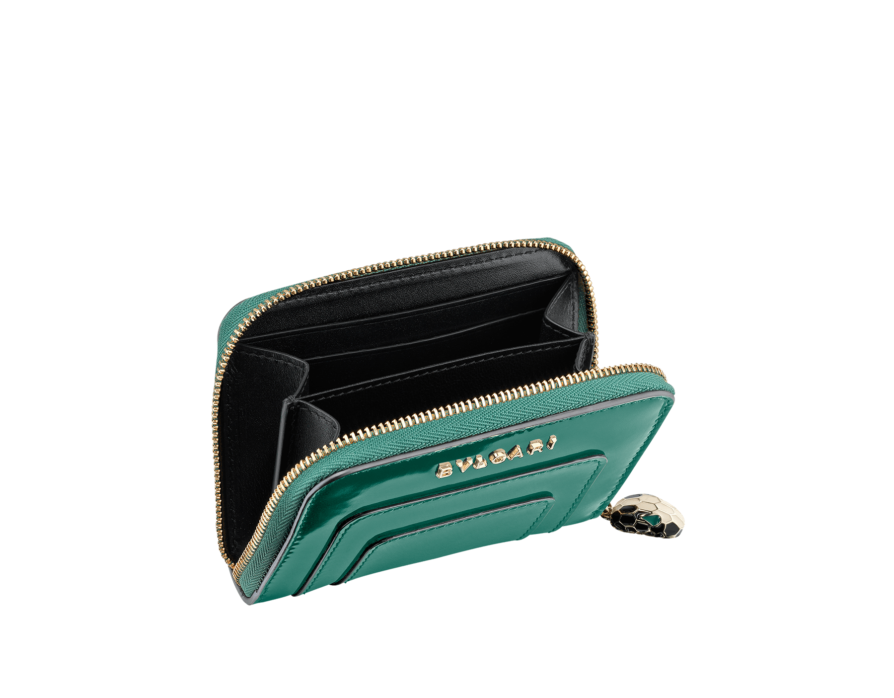 Mini zipped wallet in forest emerald brushed metallic and black calf leather, black nappa lining. Brass light gold plated hardware. Iconic black and white enamel Serpenti head zip puller with green enamel eyes. SEA-WLT-MINI-ZIP-BMCL image 2
