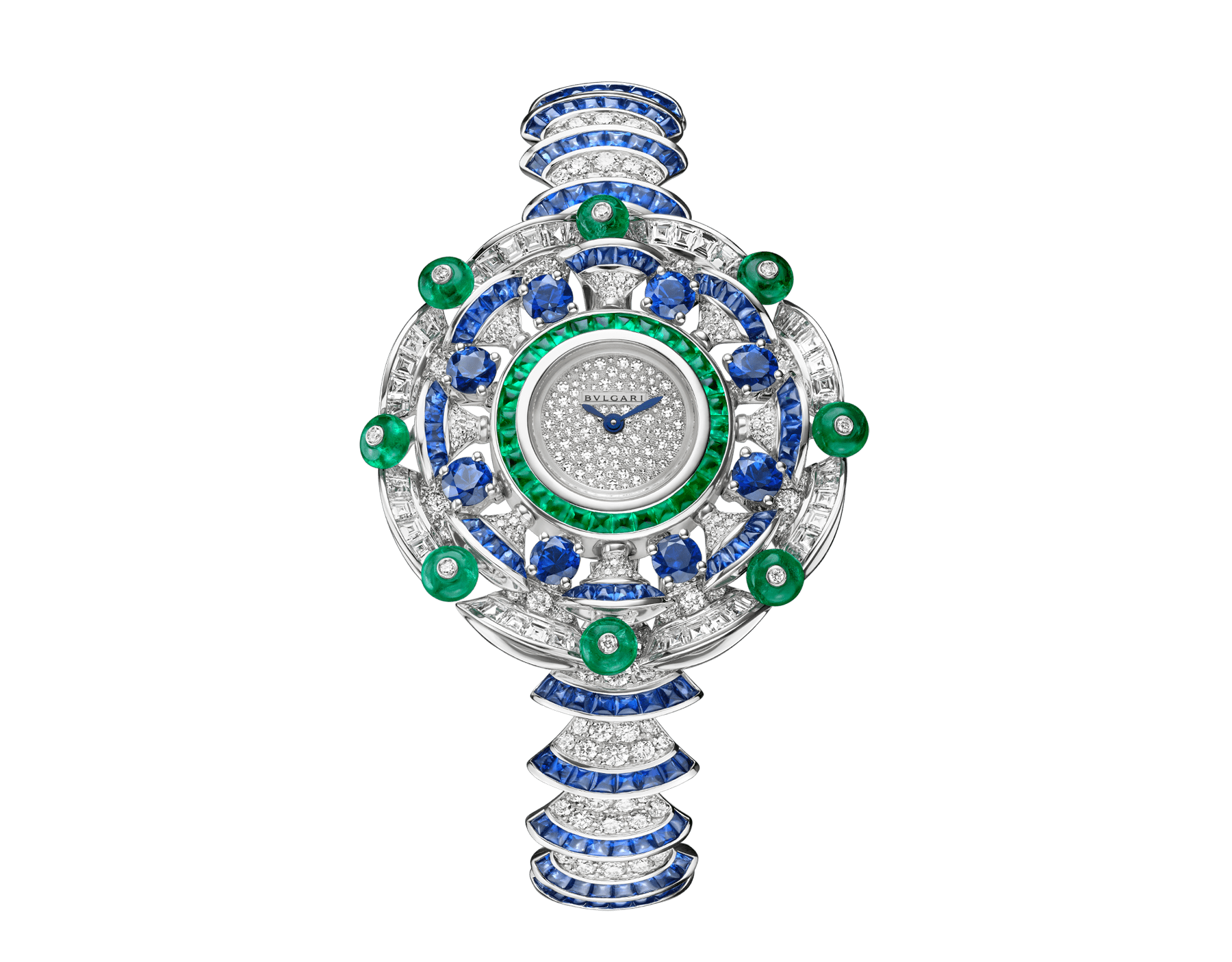 DIVAS' DREAM watch with 18 kt white gold case set with baguette and brilliant-cut diamonds, round and buff-cut sapphires, buff-cut emeralds and emeralds beads, snow pavé dial, 18 kt white gold bracelet set with brilliant-cut diamonds and buff-cut sapphires 102220 image 1