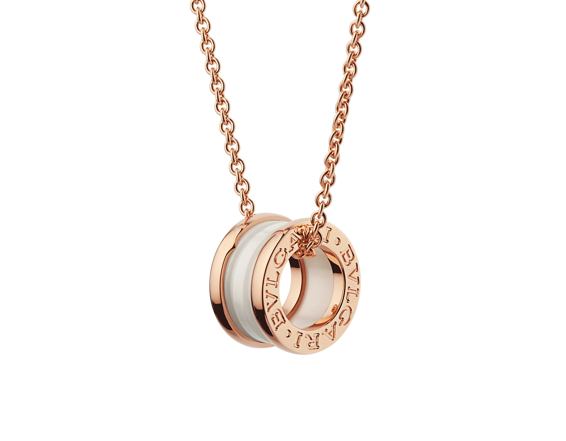 B.zero1 necklace with 18 kt rose gold chain and with 18 kt rose gold and white ceramic pendant. 346082 image 1