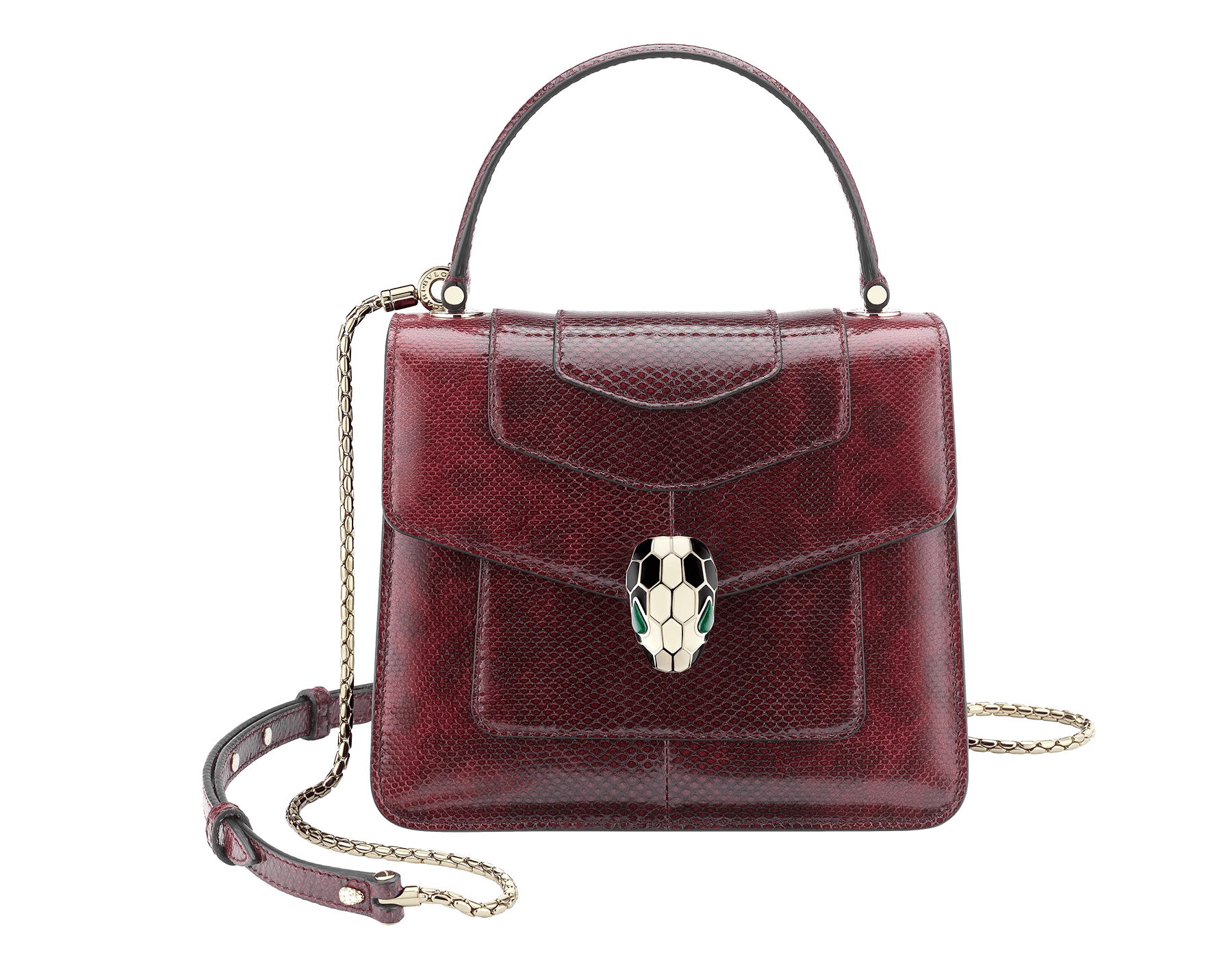 Flap cover bag Serpenti Forever in roman garnet shiny karung skin. Brass light gold plated hardware and tempting snake head closure in shiny black and white enamel, with eyes in green malachite. 286198 image 1