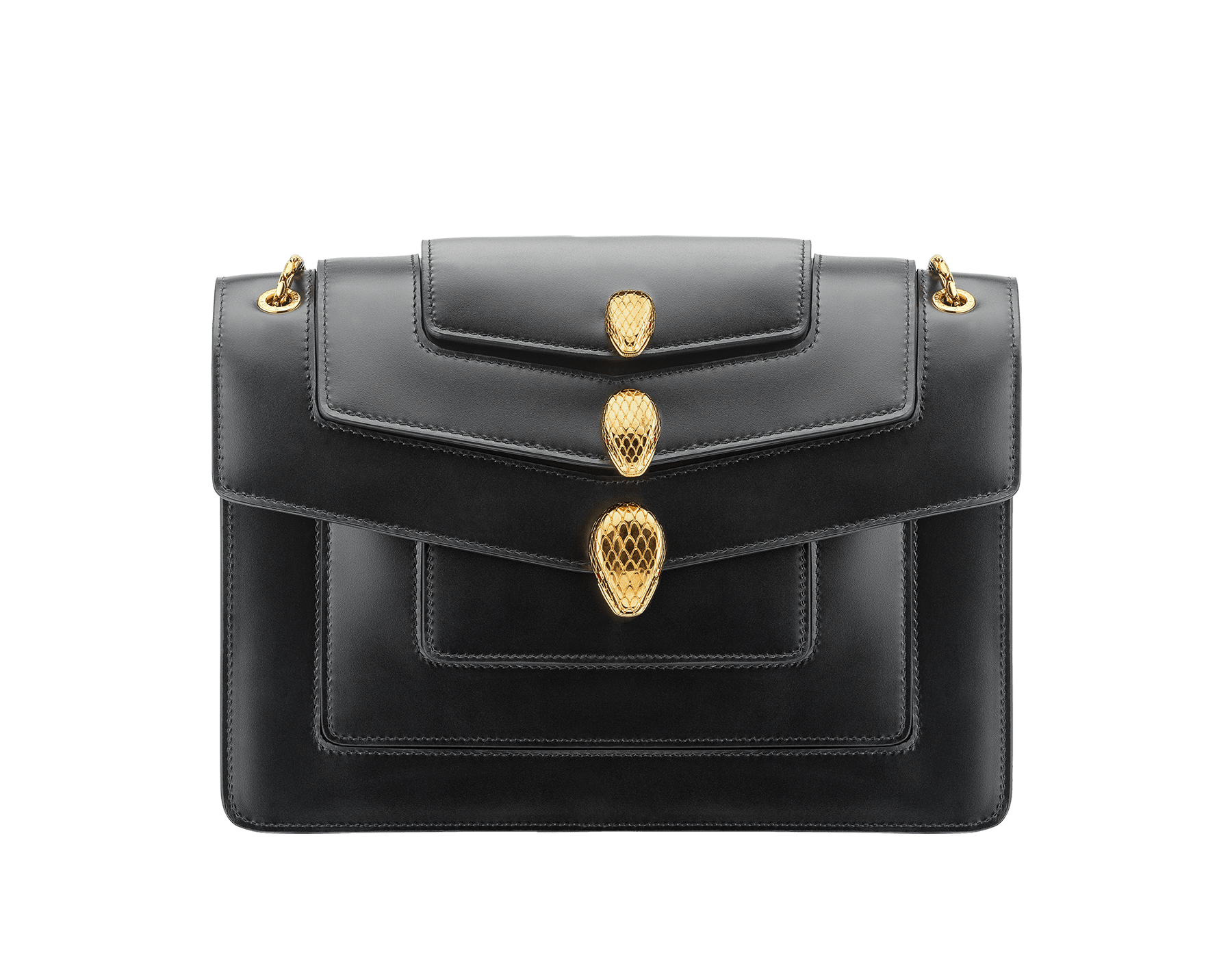 Alexander Wang x Bvlgari Triplette shoulder bag in smooth black calf leather. New triple Serpenti head closure in antique gold plated brass with tempting red enamel eyes. Limited edition. SFW-001-1003M image 1