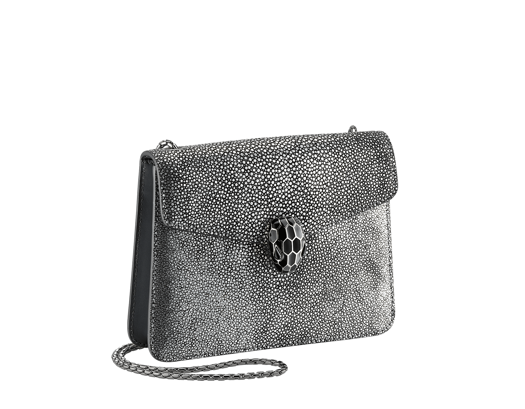 """Serpenti Forever"" crossbody bag in charcoal diamond crystal galuchat skin. Iconic snake head closure in palladium plated brass enriched with black enamel and black onyx eyes. 288995 image 2"